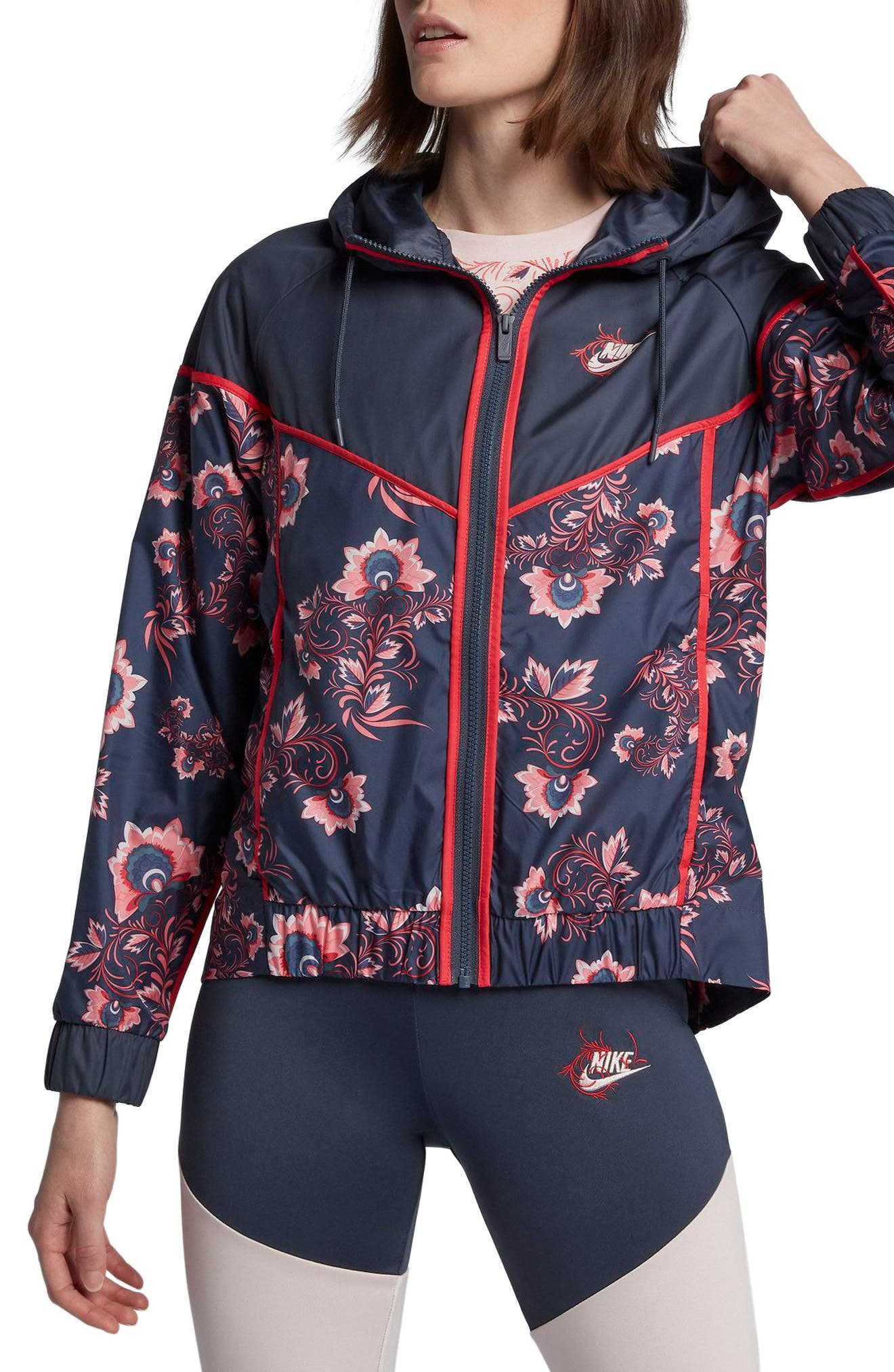 Sportswear Floral Print Track Jacket,                             Main thumbnail 1, color,                             Thunder Blue