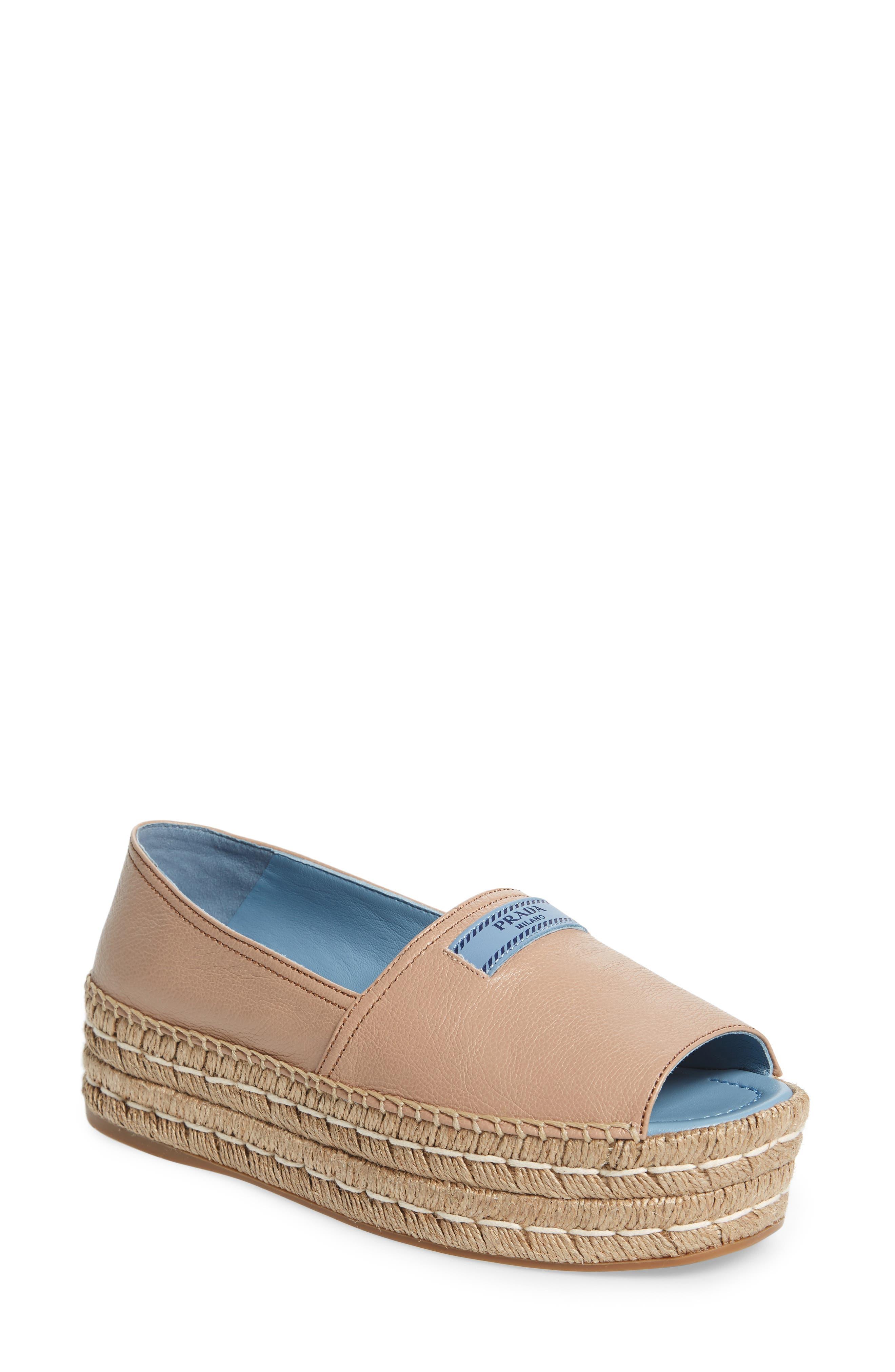 Peep Toe Flatform Espadrille,                         Main,                         color, Cammeo