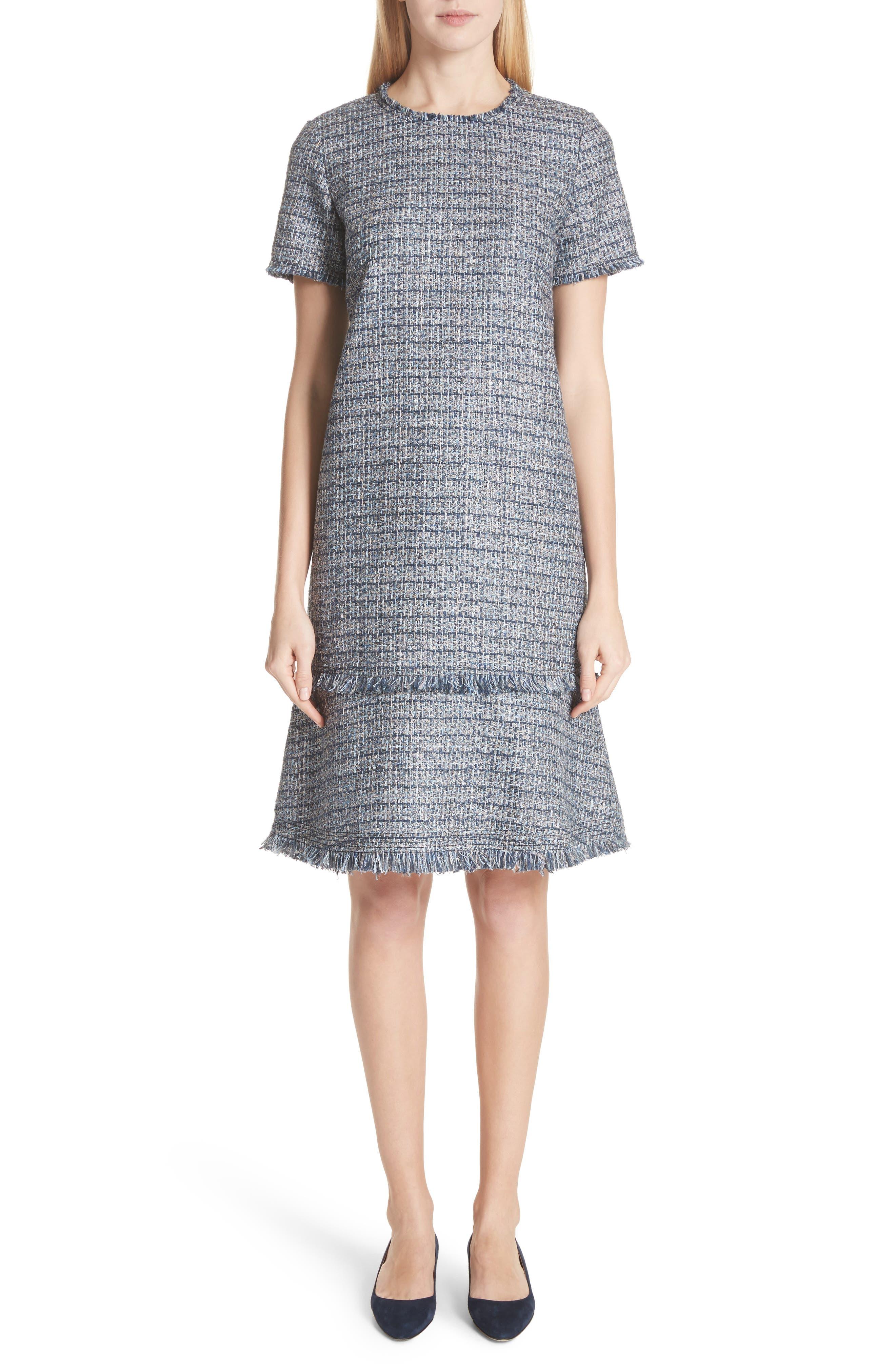 Saria Tweed Drop Waist Dress,                         Main,                         color, Admiral Blue Multi