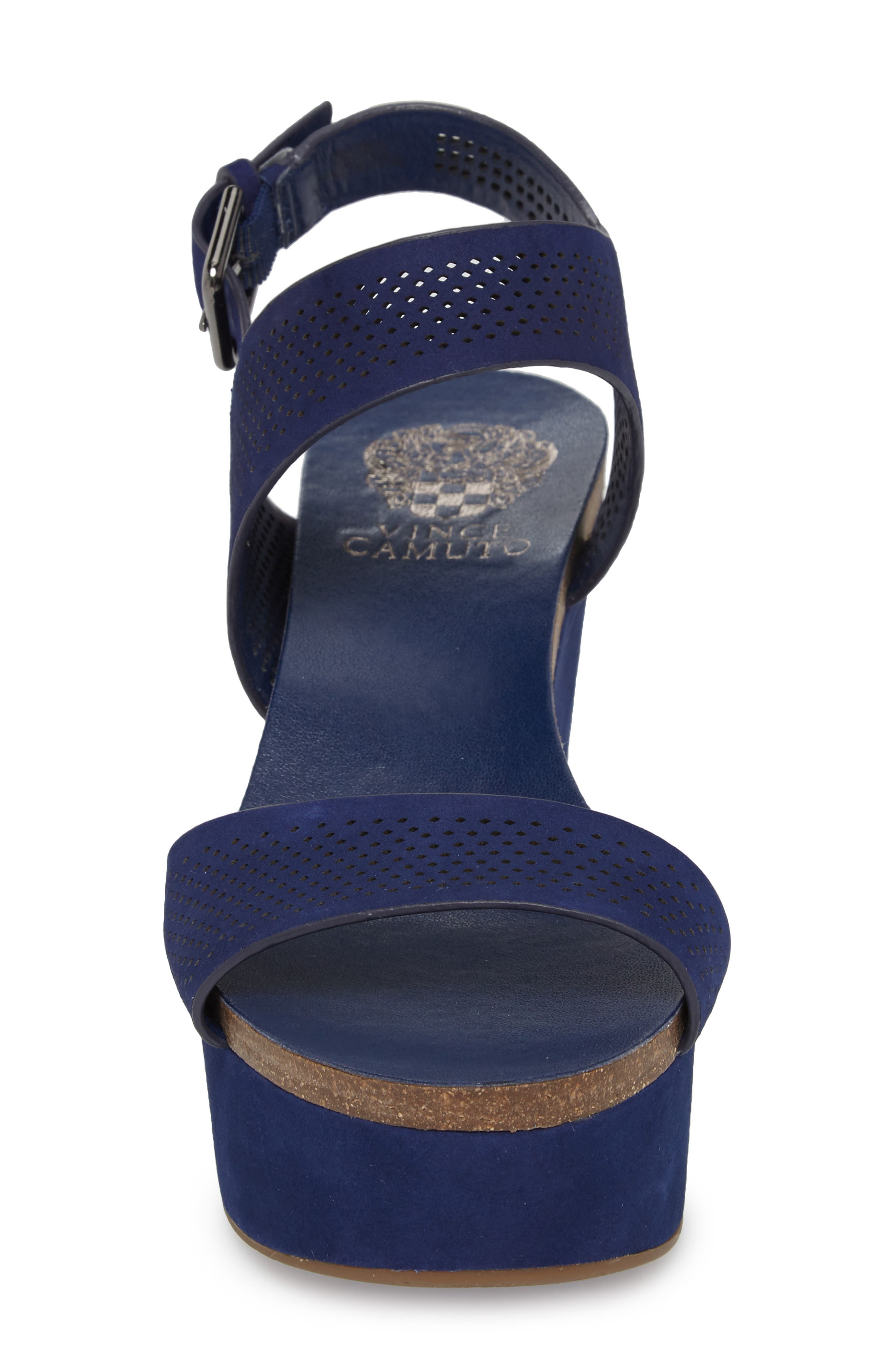 Vessinta Platform Wedge,                             Alternate thumbnail 4, color,                             Moody Blue Leather