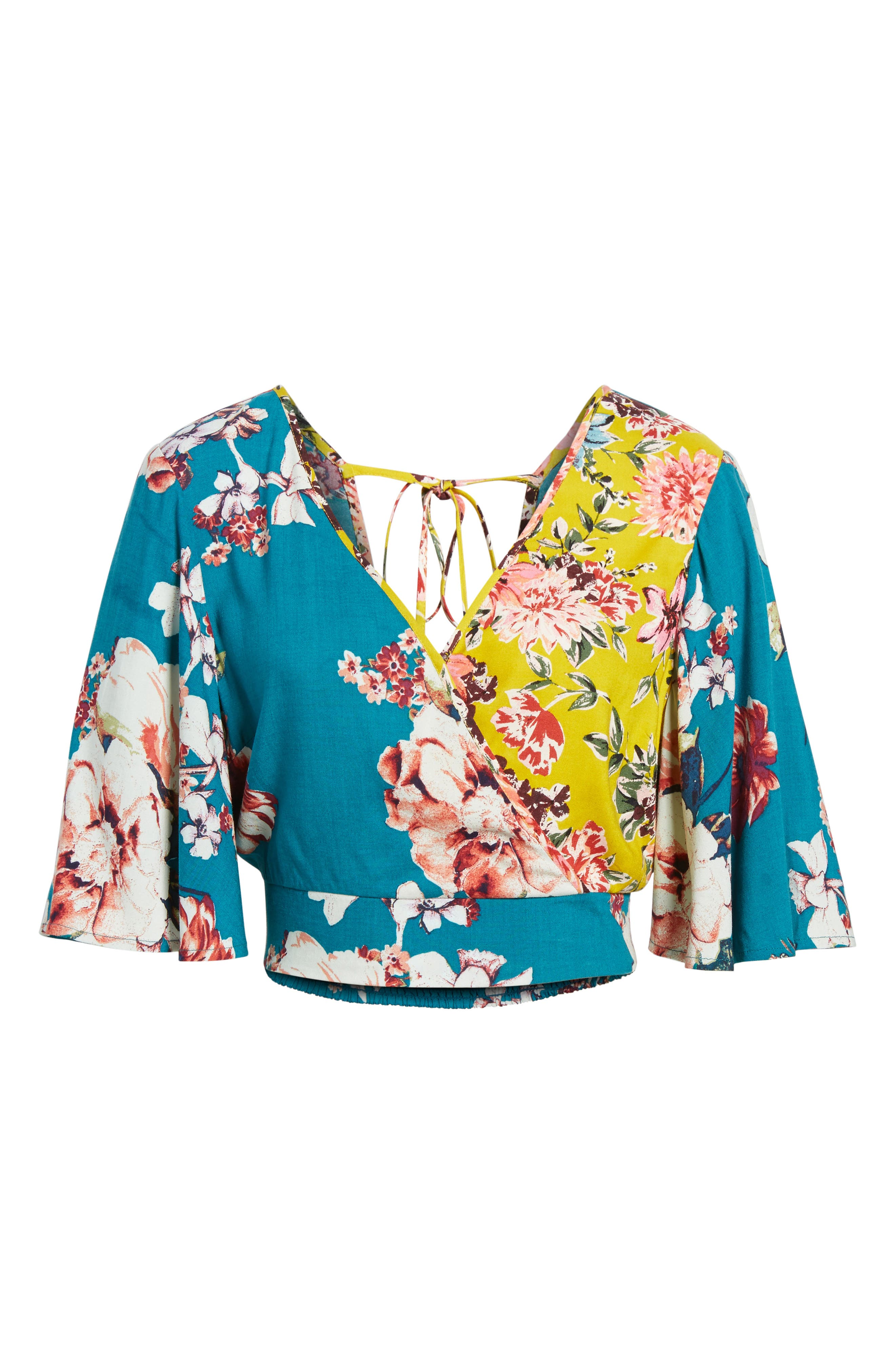 Mix Floral Crop Top,                             Alternate thumbnail 8, color,                             Teal/ Peach