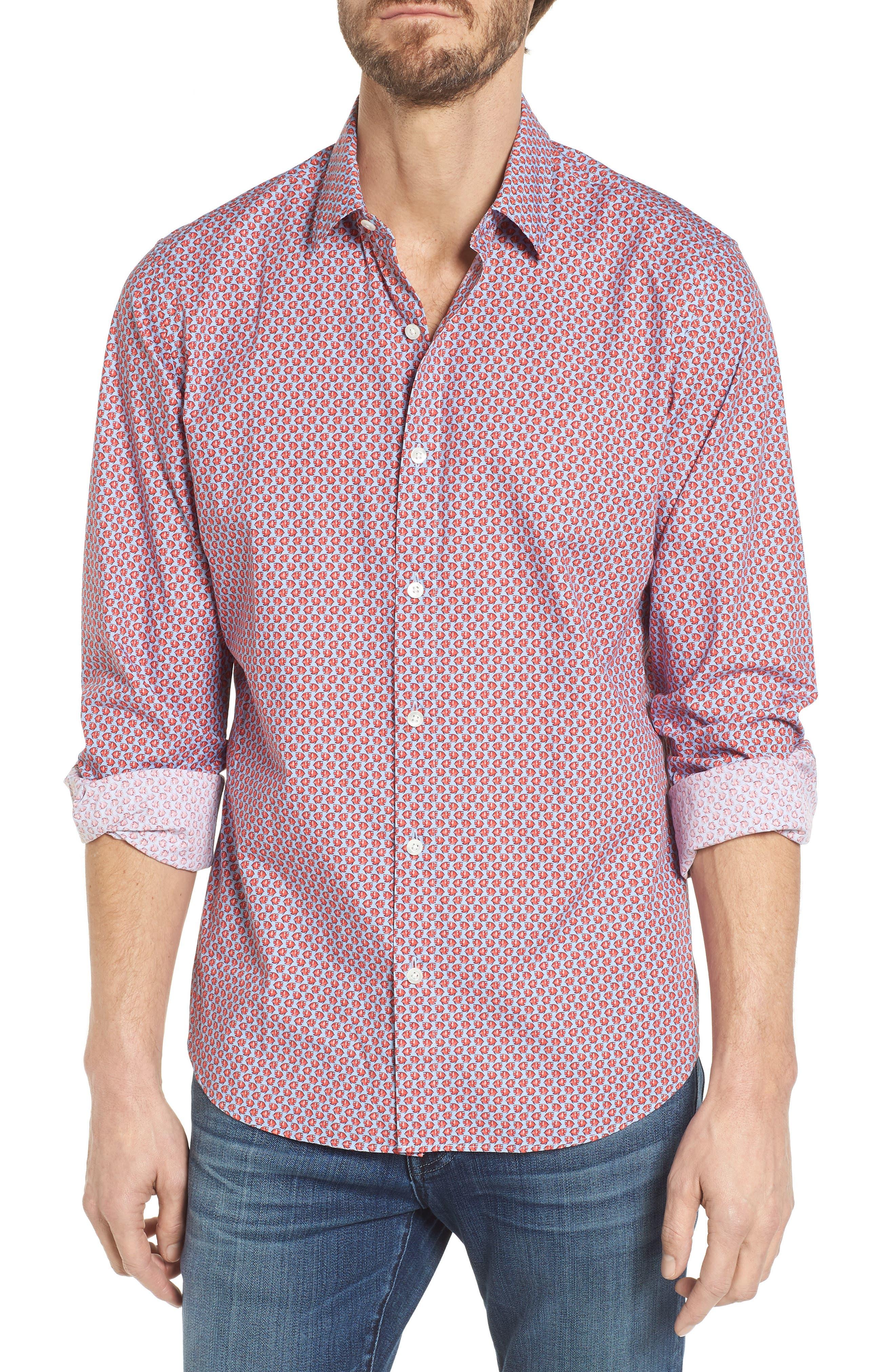 Premium Slim Fit Print Sport Shirt,                             Main thumbnail 1, color,                             Small Fish