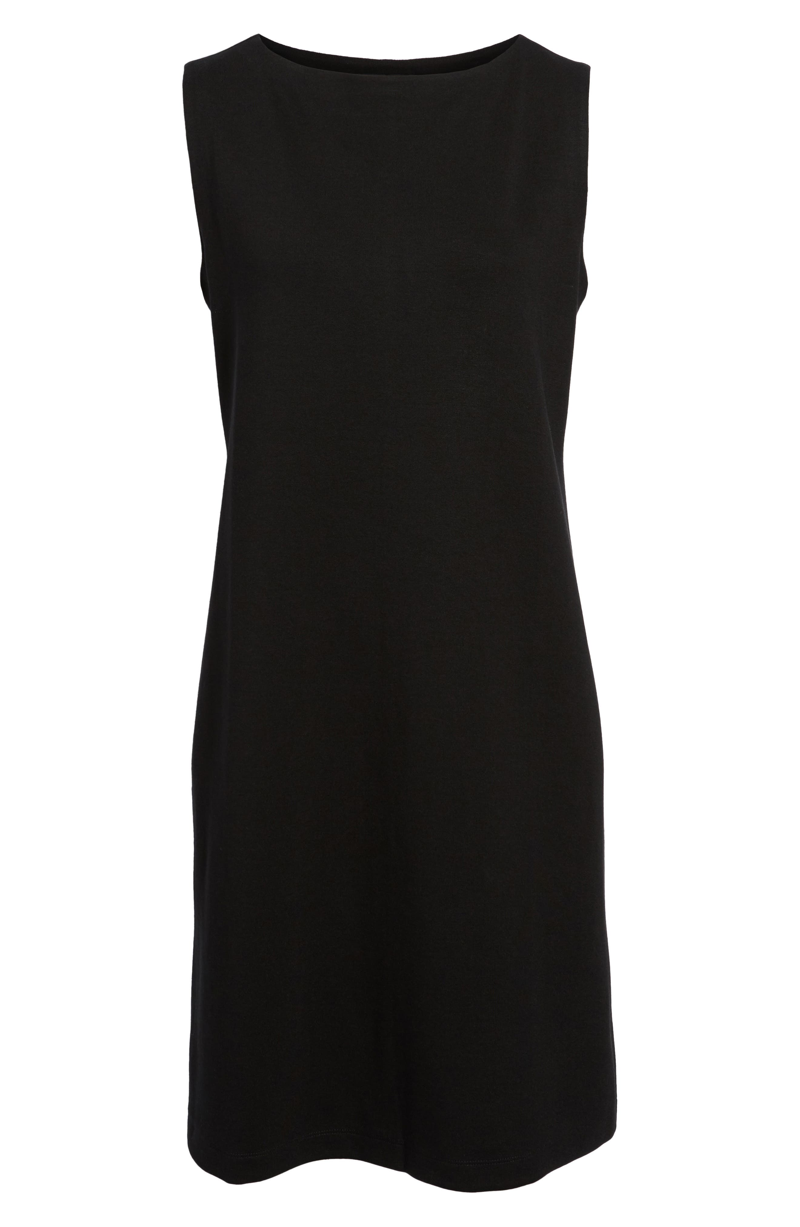 Tencel<sup>®</sup> Lyocell Blend Shift Dress,                             Alternate thumbnail 6, color,                             Black
