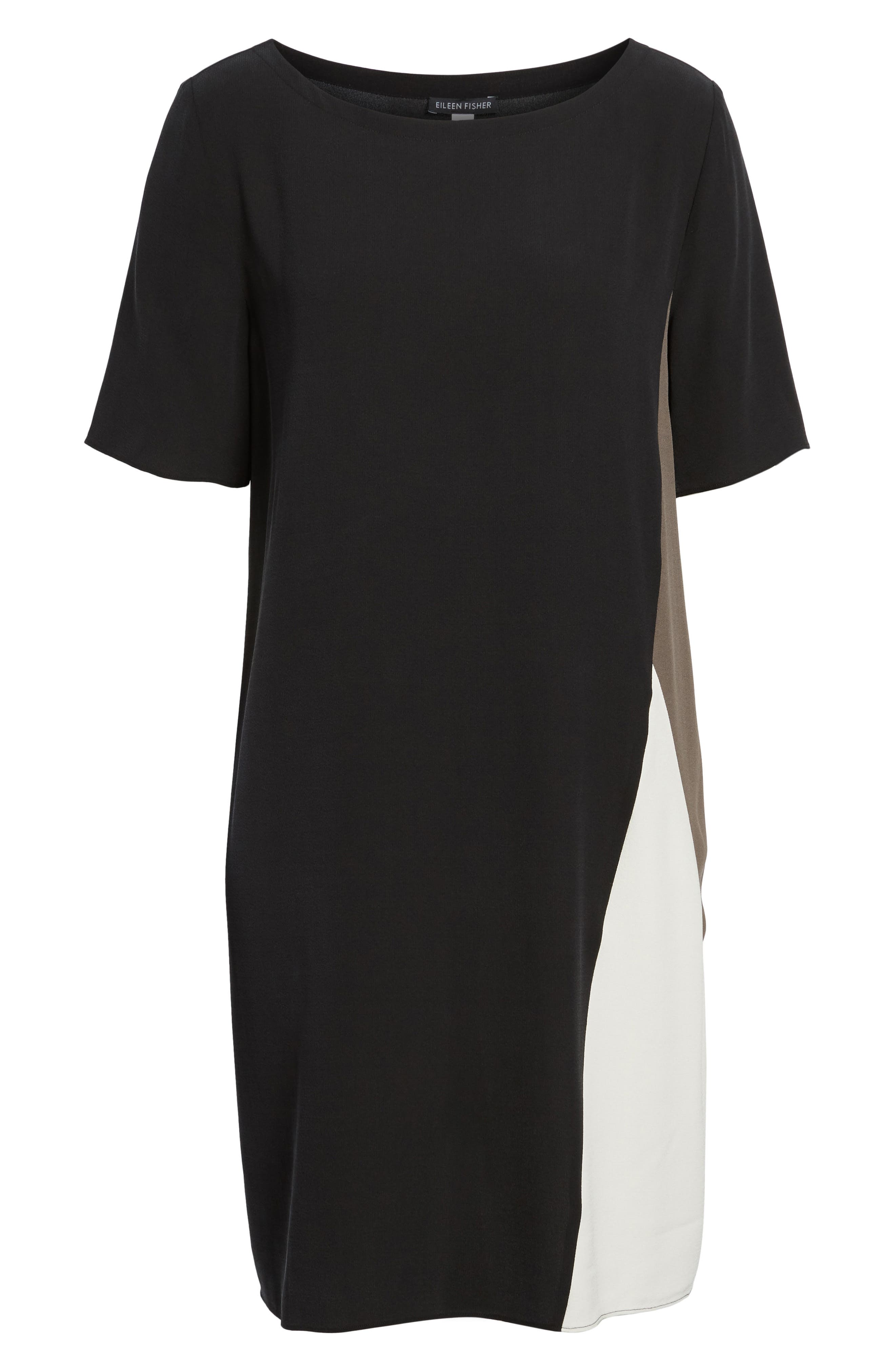Colorblock Silk Georgette Crepe Dress,                             Alternate thumbnail 7, color,                             Black