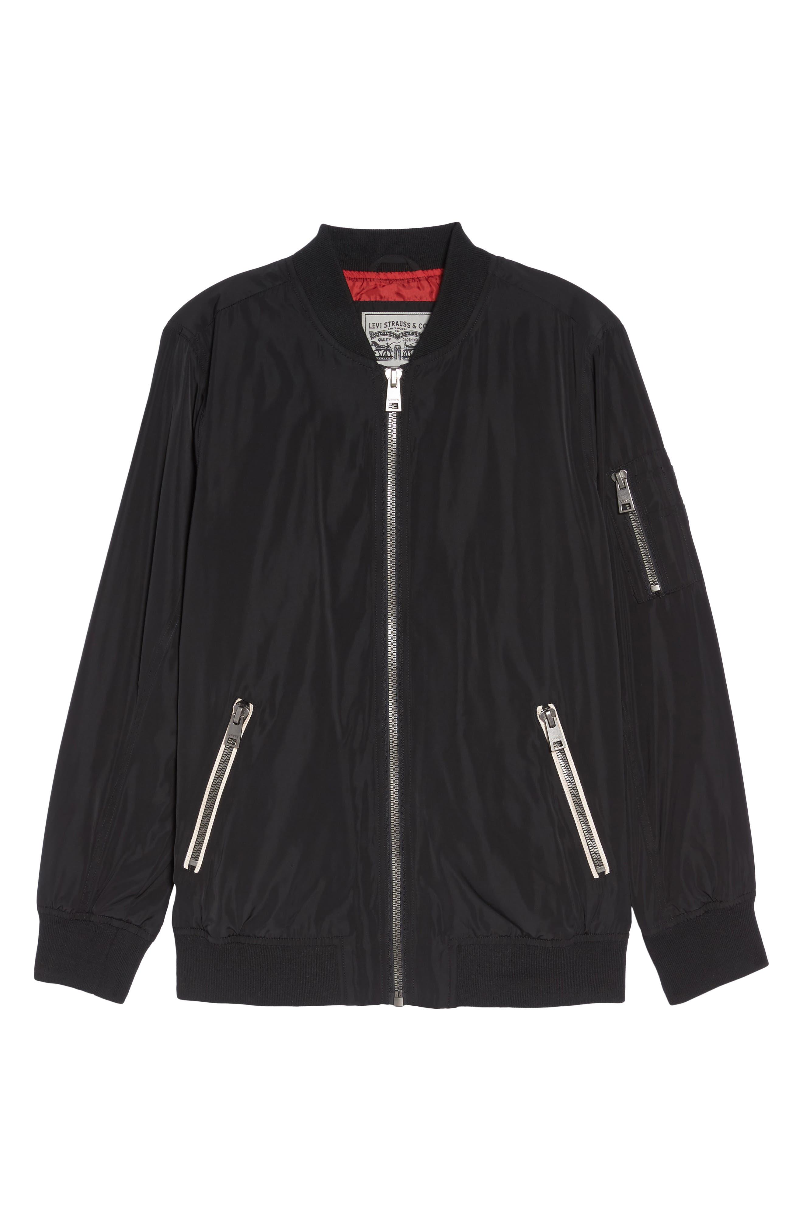 Bomber Jacket,                             Alternate thumbnail 6, color,                             Black