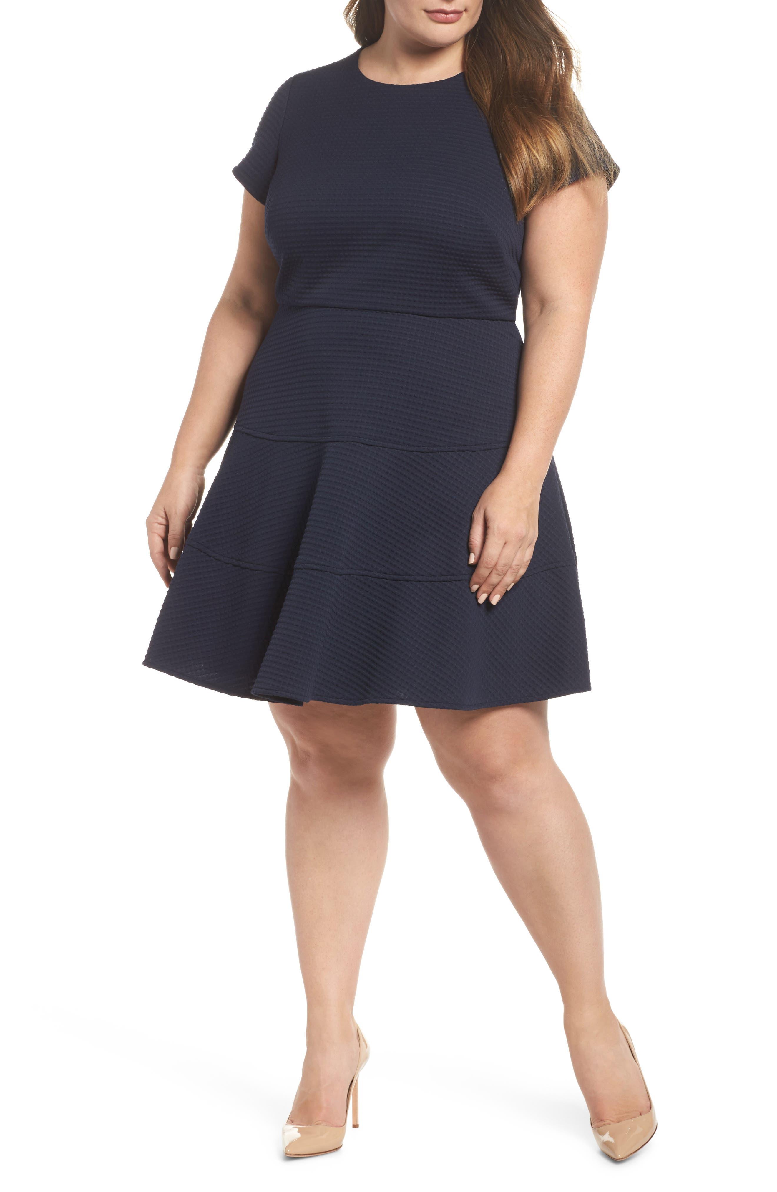 Fit & Flare Dress,                             Main thumbnail 1, color,                             Navy