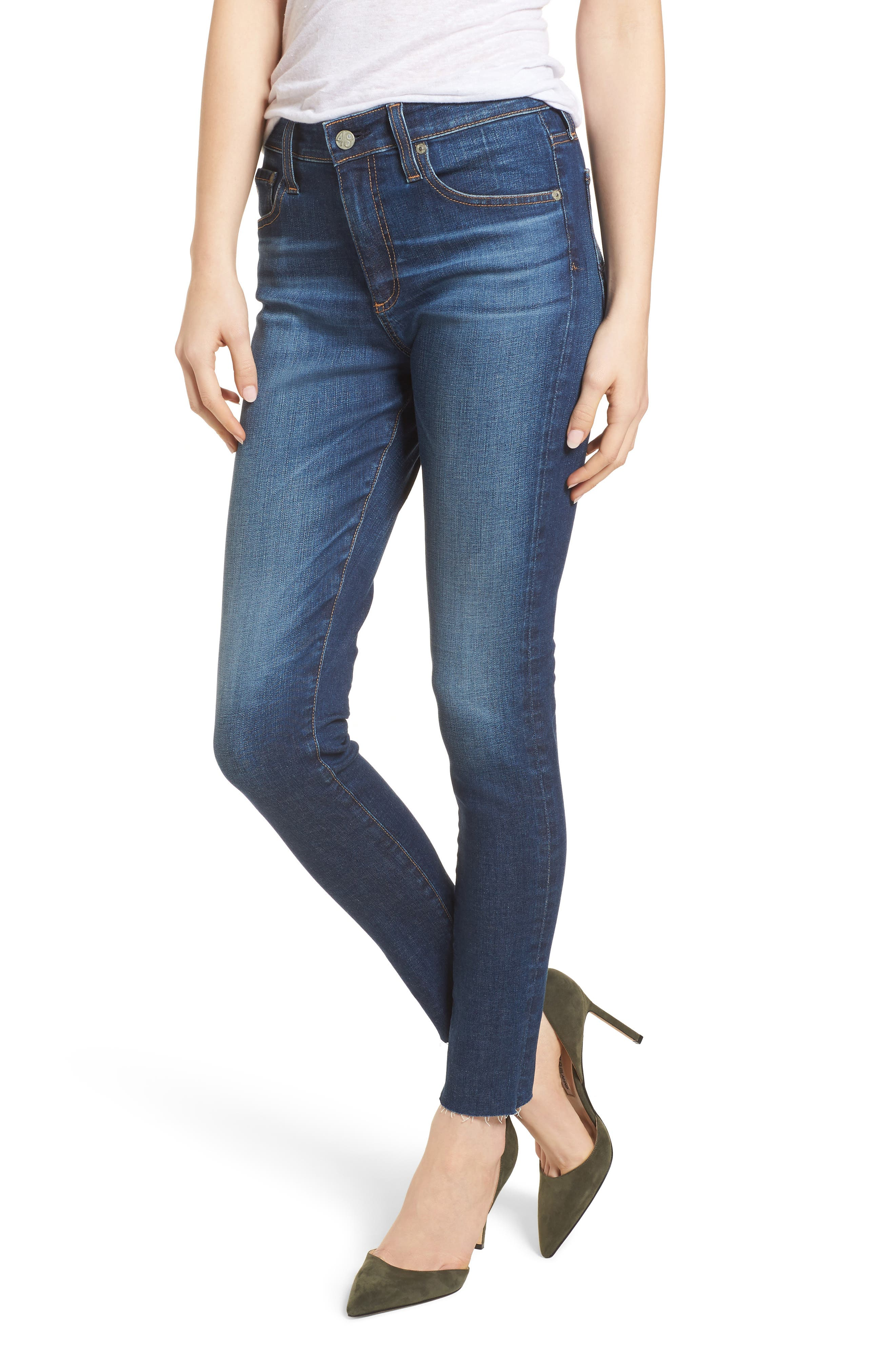 The Farrah High Waist Ankle Skinny Jeans,                         Main,                         color, 7 Year Chasm