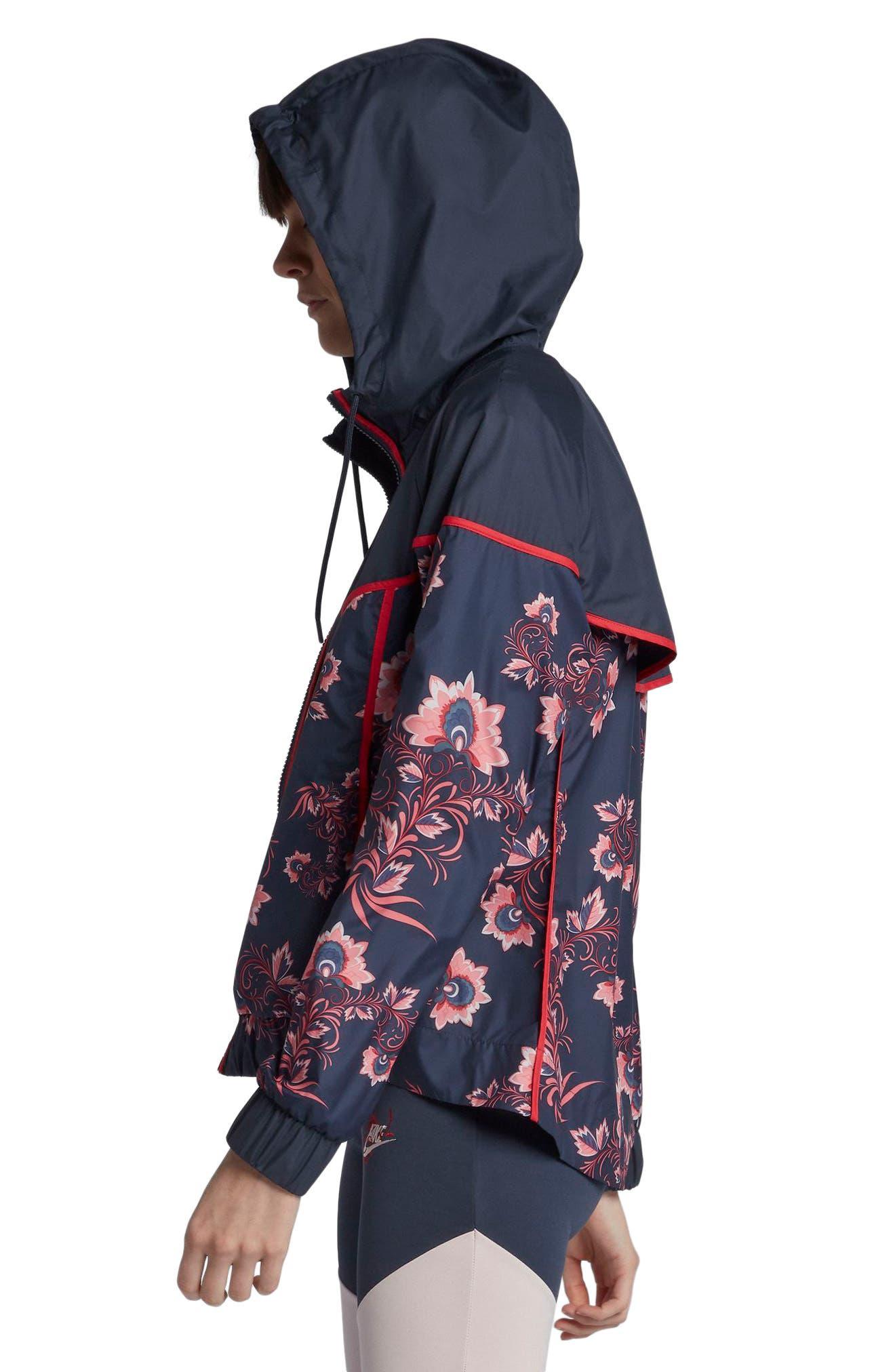 Sportswear Floral Print Track Jacket,                             Alternate thumbnail 4, color,                             Thunder Blue