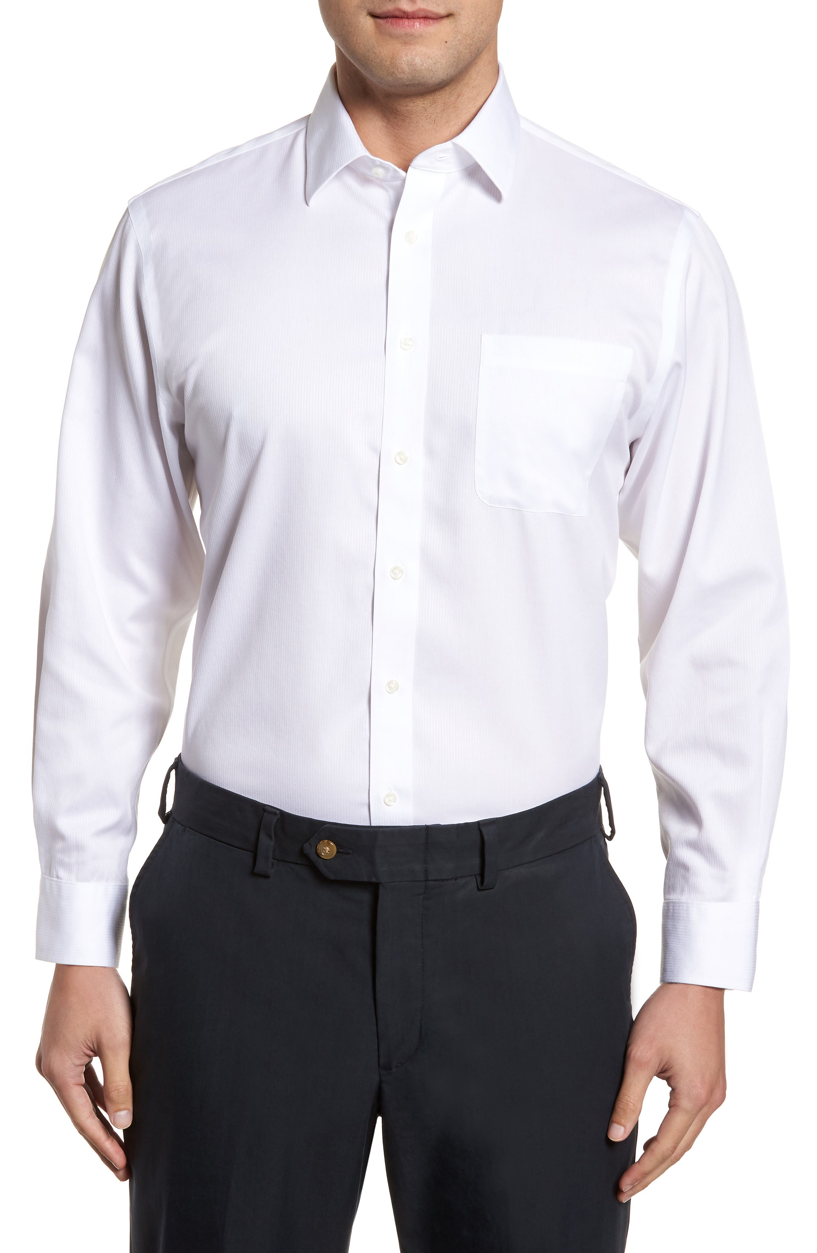 Smartcare<sup>™</sup> Traditional Fit Stripe Dress Shirt,                         Main,                         color, White