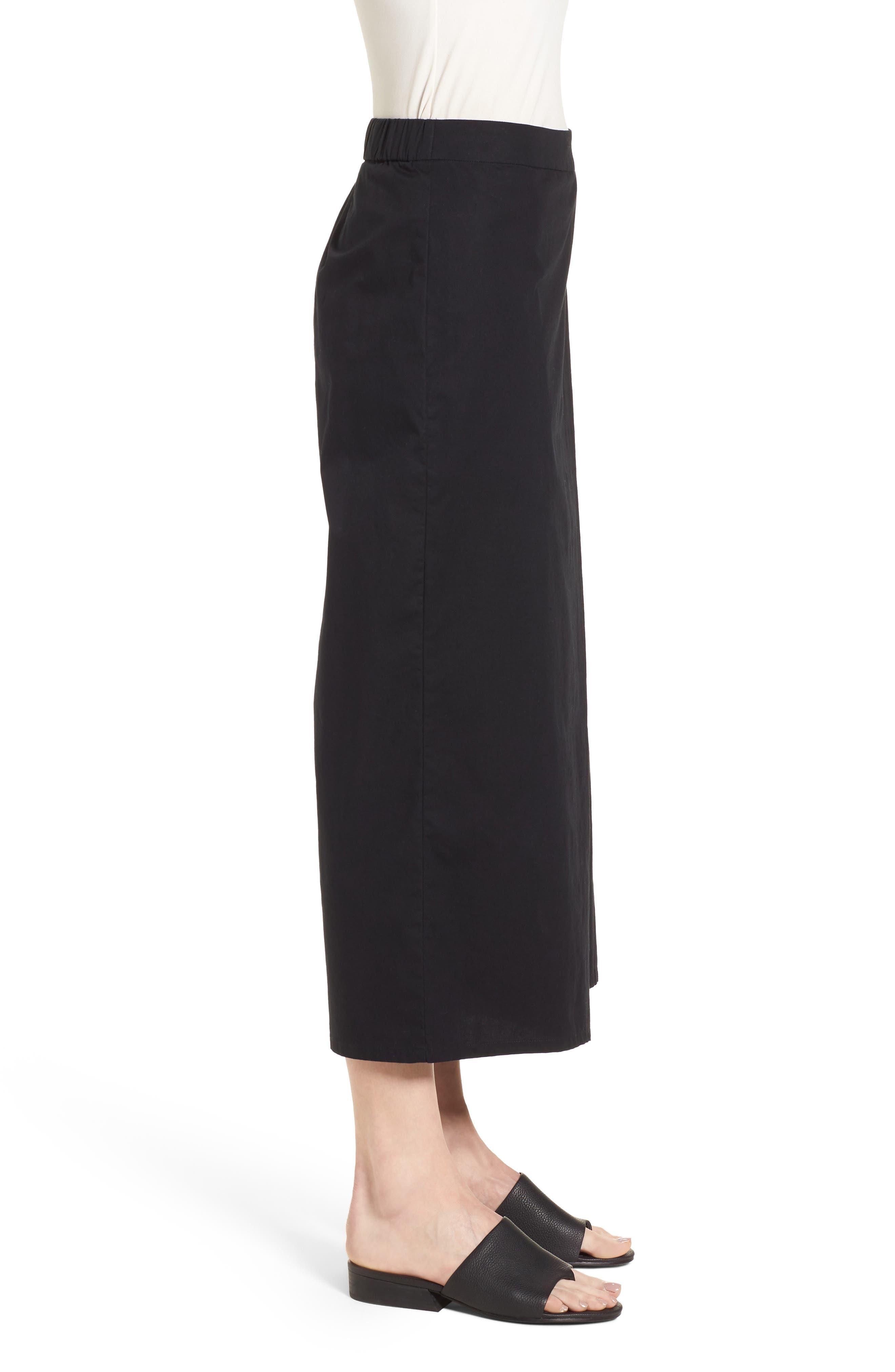 Foldover Wide Leg Crop Pants,                             Alternate thumbnail 3, color,                             Black