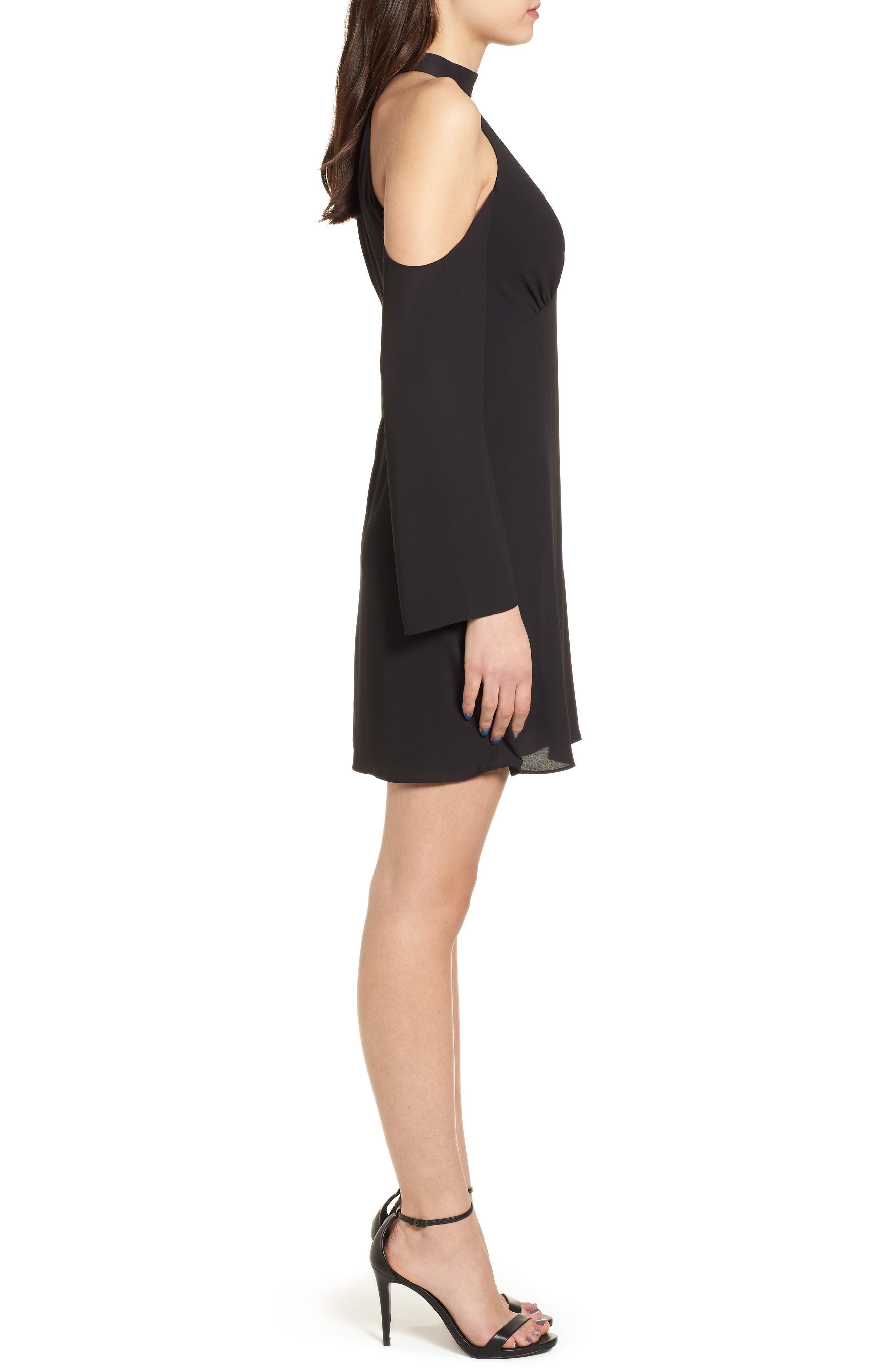Daikon Cold Shoulder Dress,                             Alternate thumbnail 3, color,                             Black