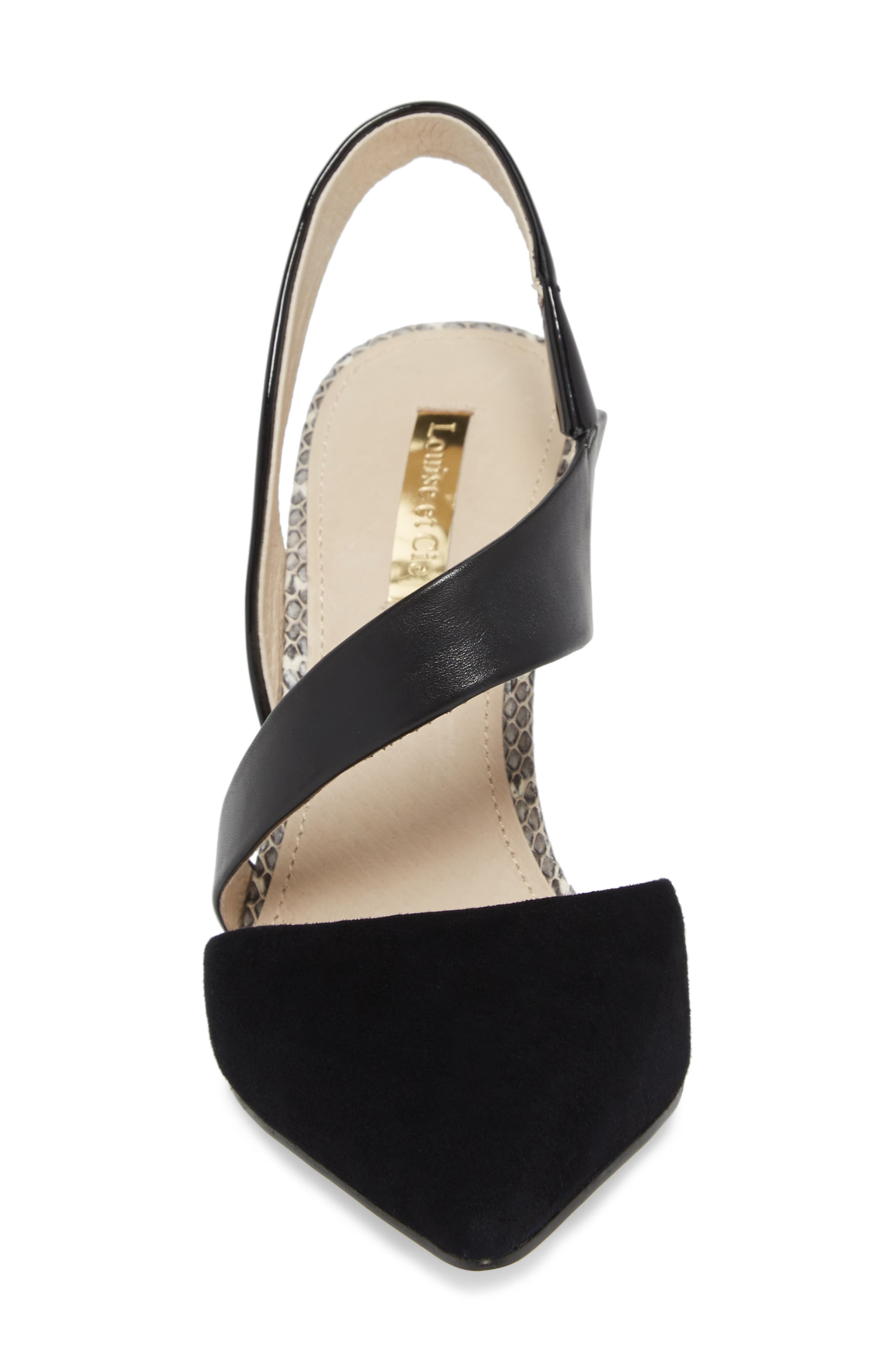 Jerry Pointy Toe Slingback Pump,                             Alternate thumbnail 4, color,                             Black Suede