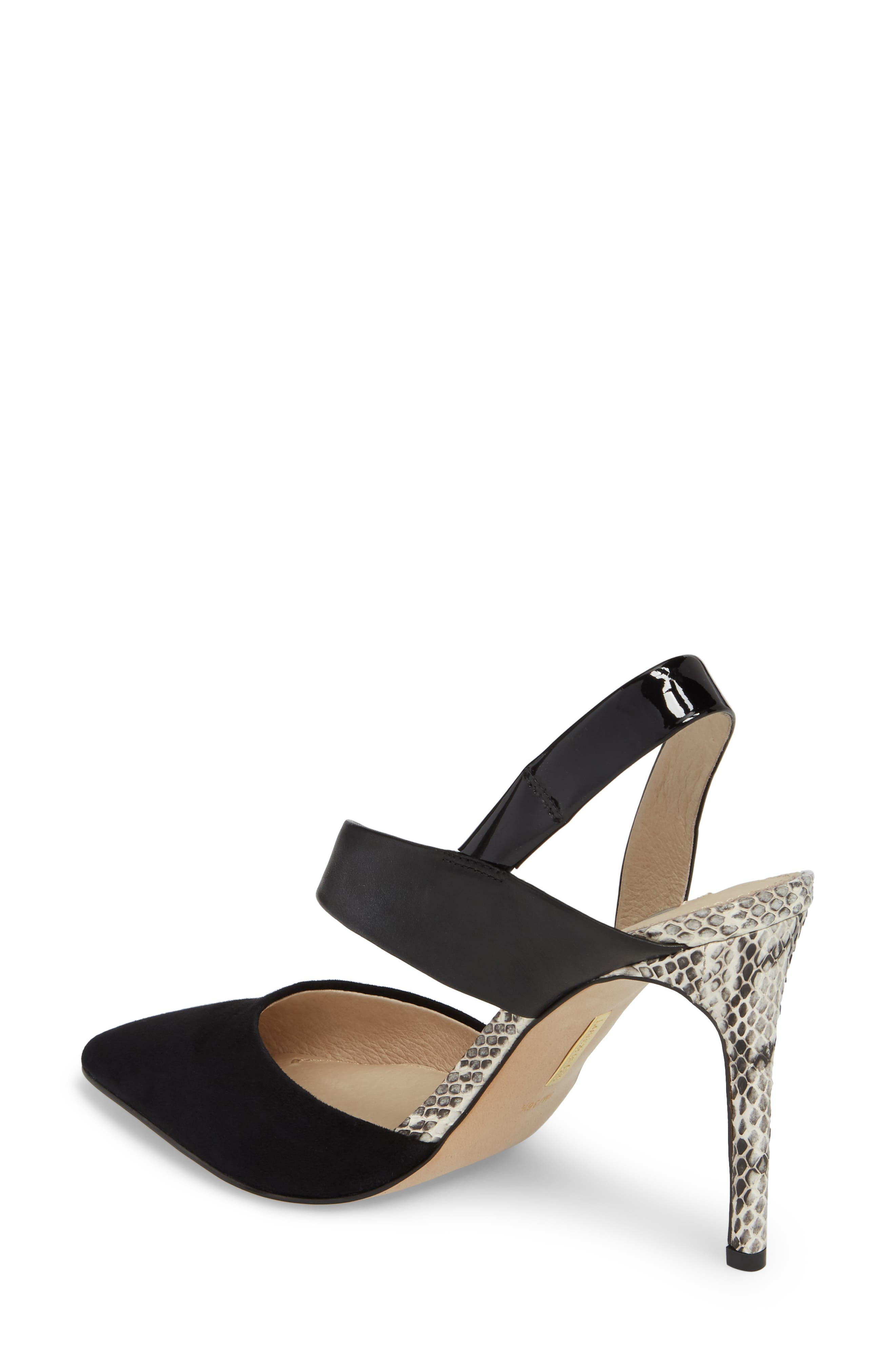 Jerry Pointy Toe Slingback Pump,                             Alternate thumbnail 2, color,                             Black Suede
