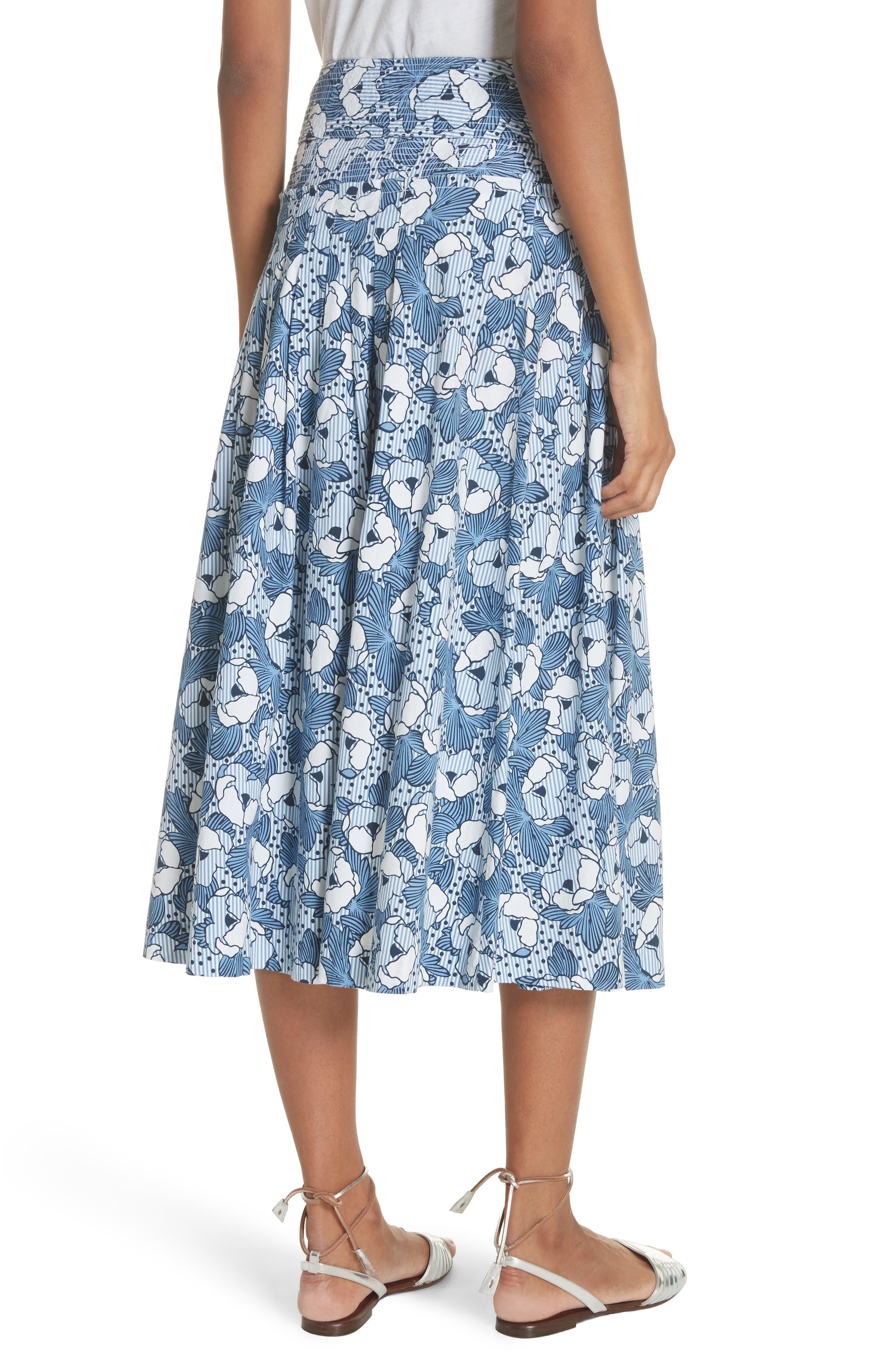 Caralina Floral Print Midi Skirt,                             Alternate thumbnail 2, color,                             Blue/ White