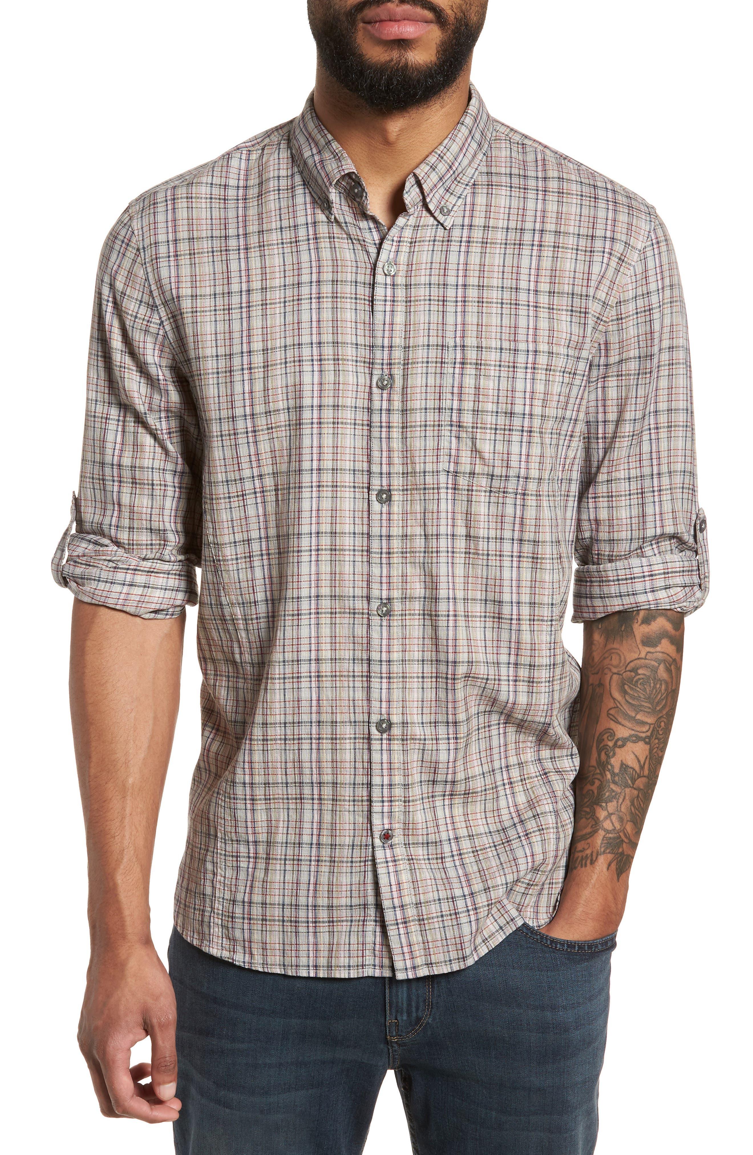 John Varvatos Star USA Slim Fit Plaid Sport Shirt
