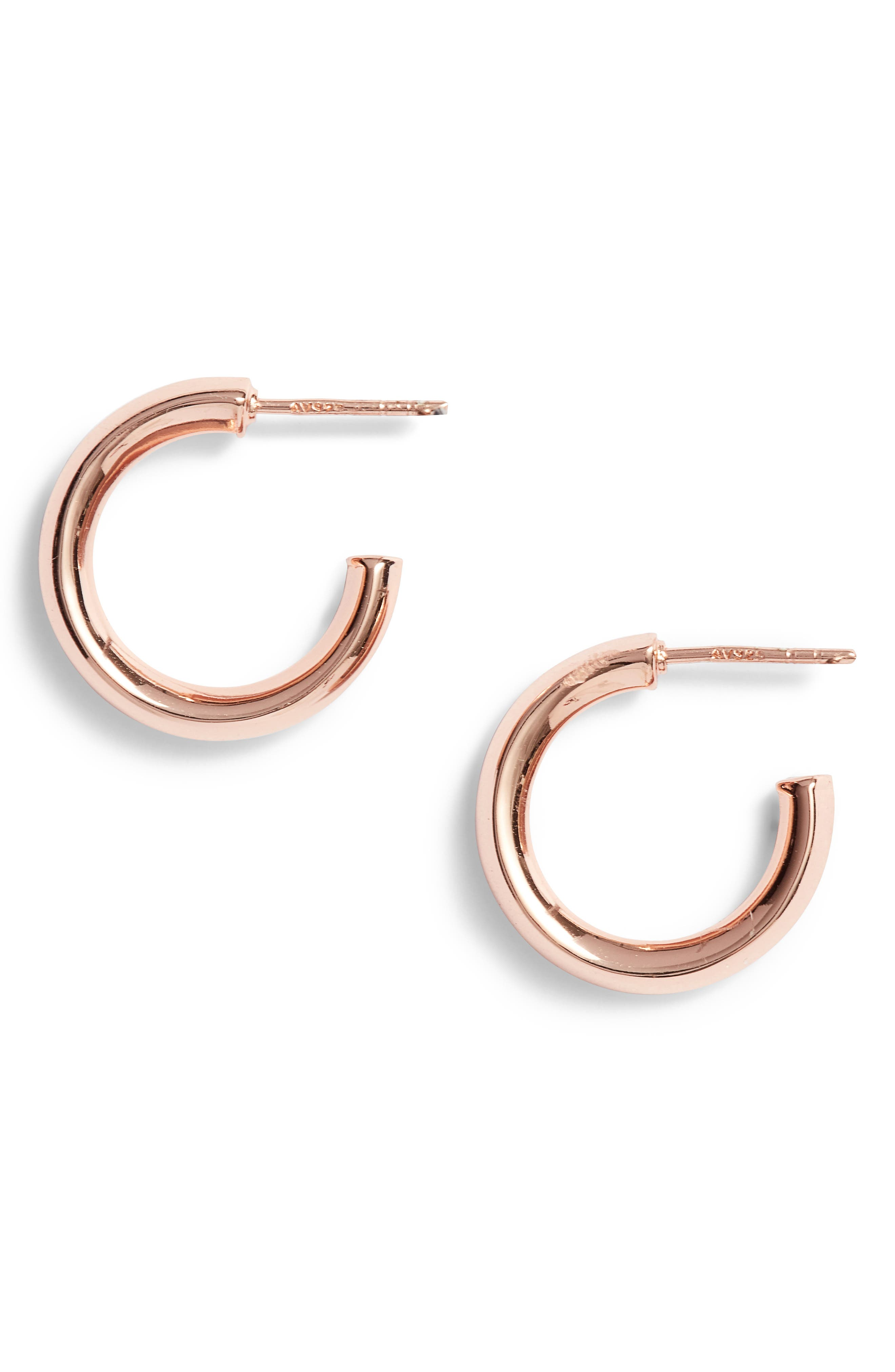 Small Hammered Tube Hoops,                         Main,                         color, Rose Gold