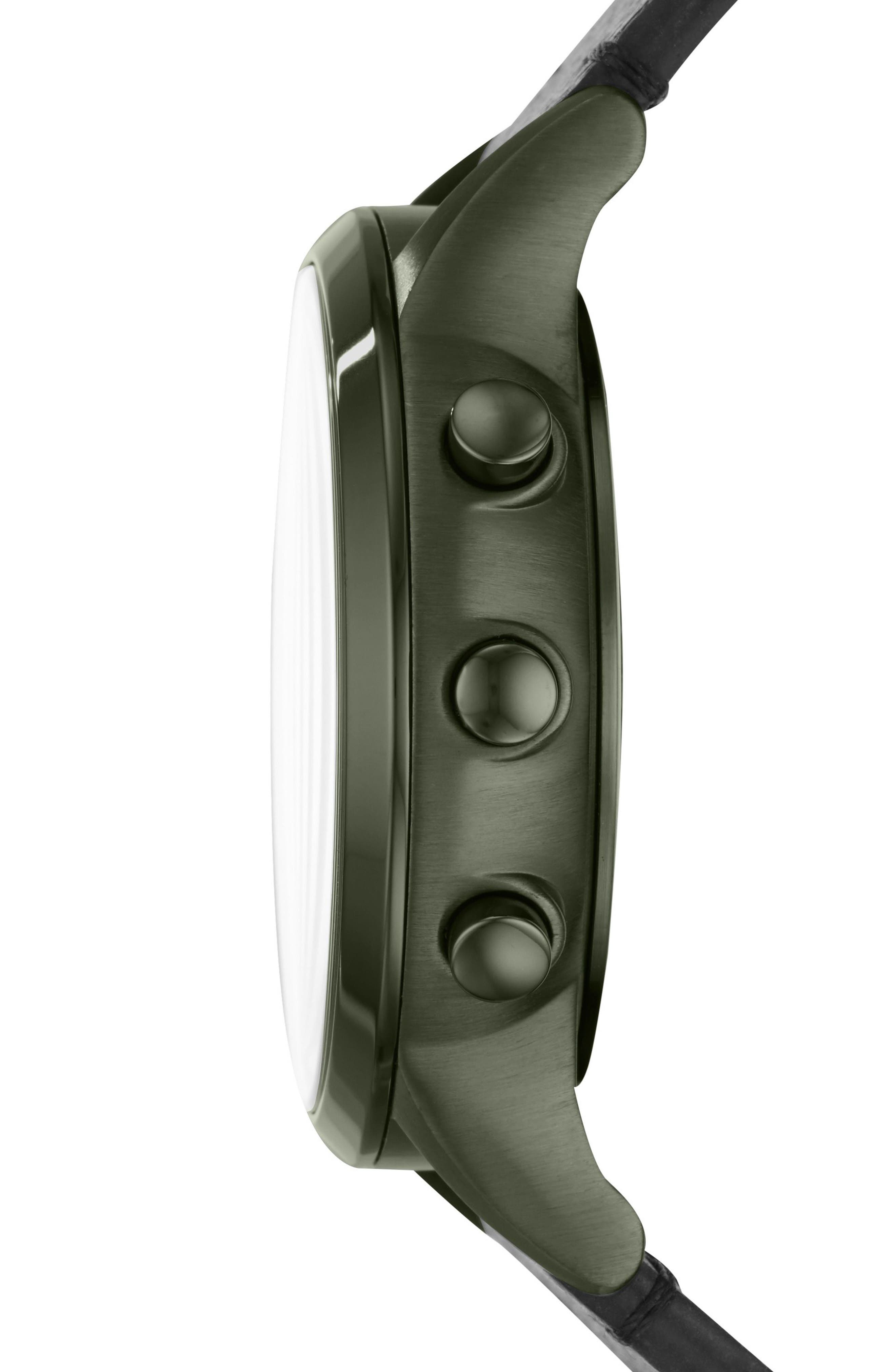 Renato Hybrid Leather Strap Watch, 43mm,                             Alternate thumbnail 2, color,                             Gunmetal/ Black
