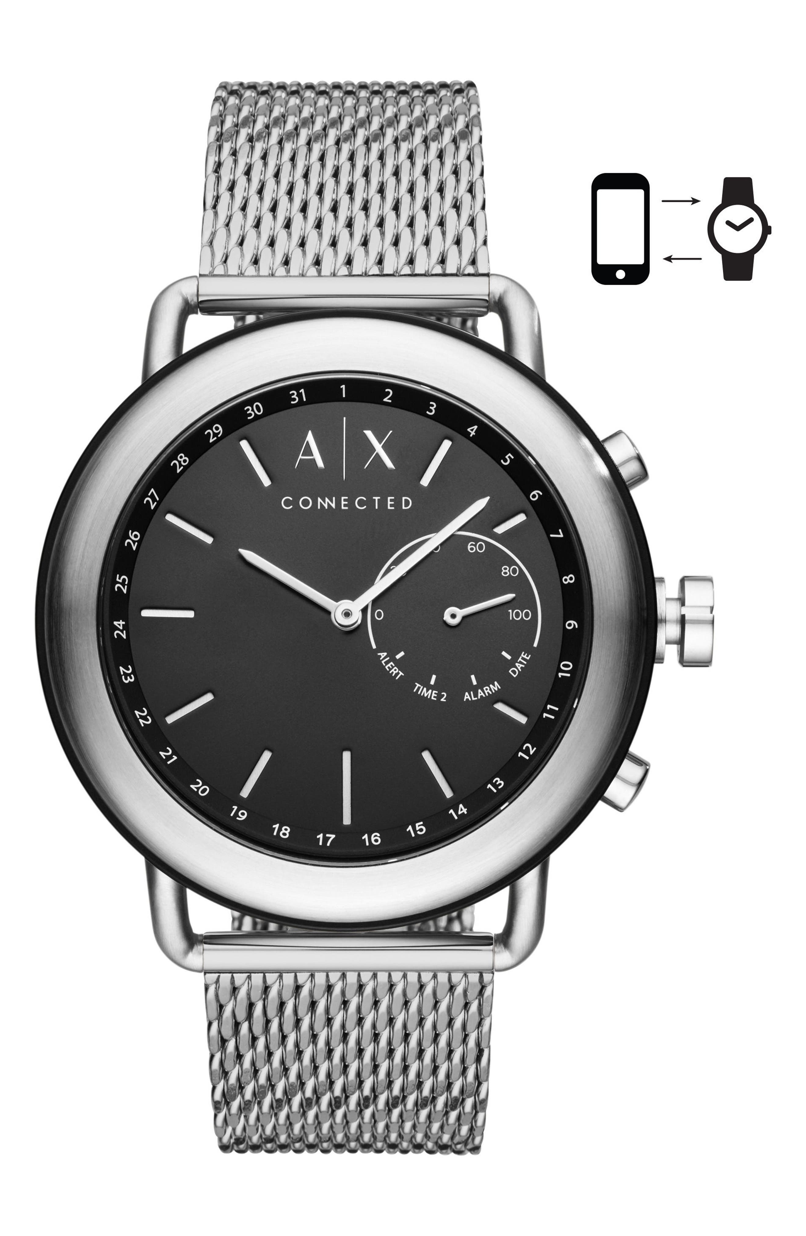 Connected Hybrid Mesh Strap Smart Watch, 47mm,                         Main,                         color, Black/ Stainless Steel