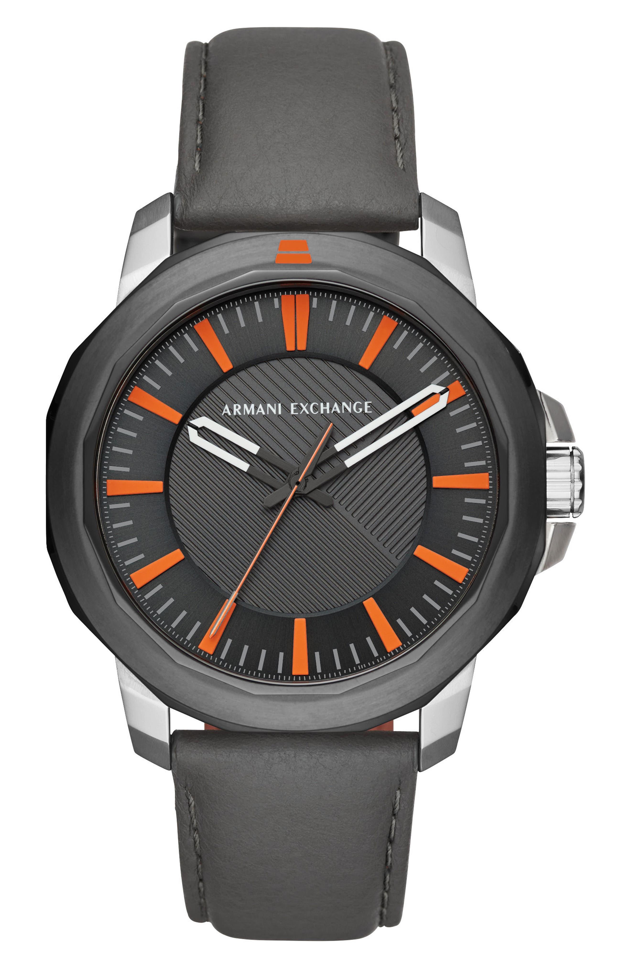 Main Image - AX Armani Exchange Three-Hand Leather Strap Watch, 44mm x 52mm