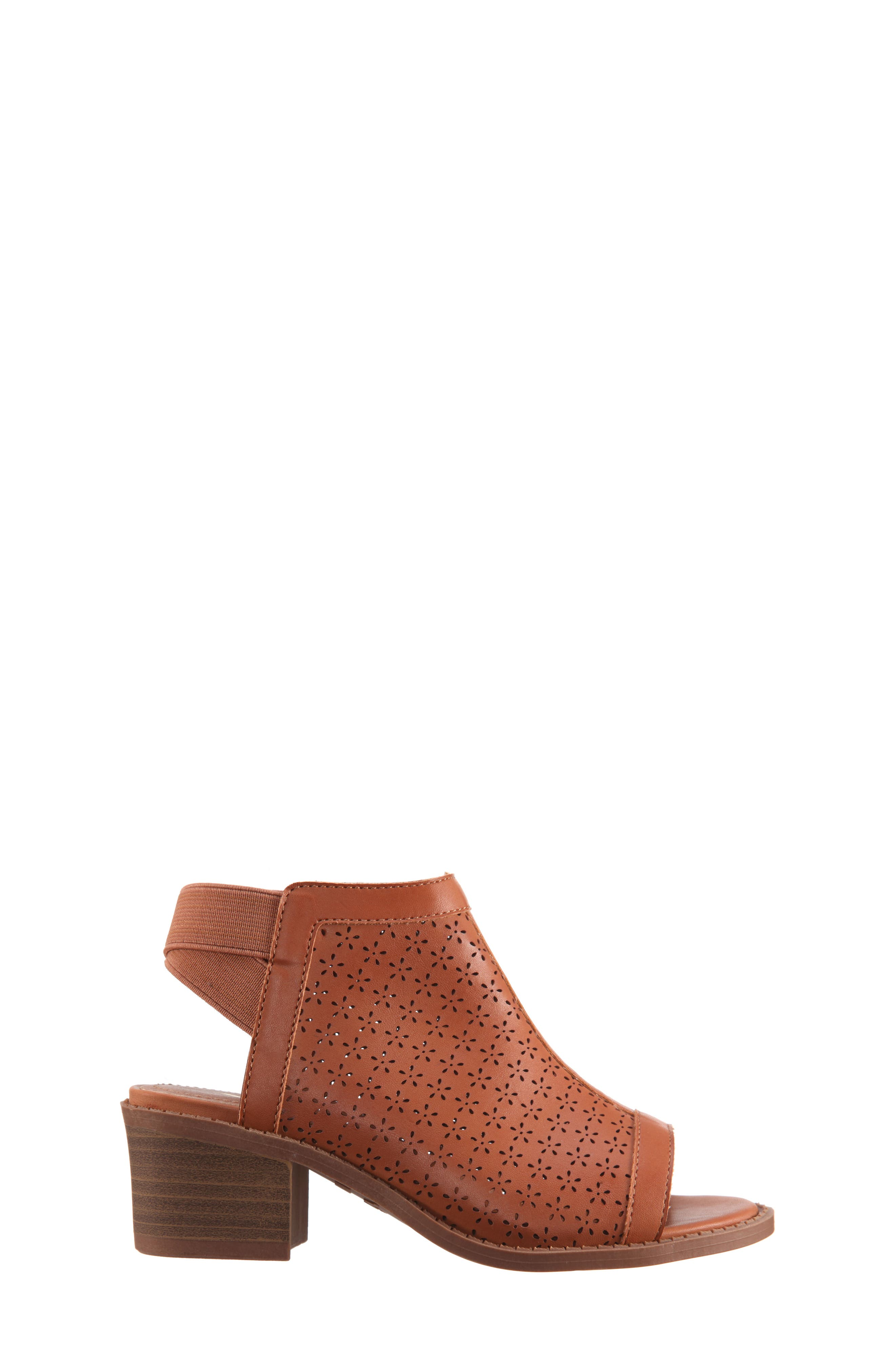 Maya Perforated Peep Toe Bootie,                             Alternate thumbnail 3, color,                             Tan Burnished