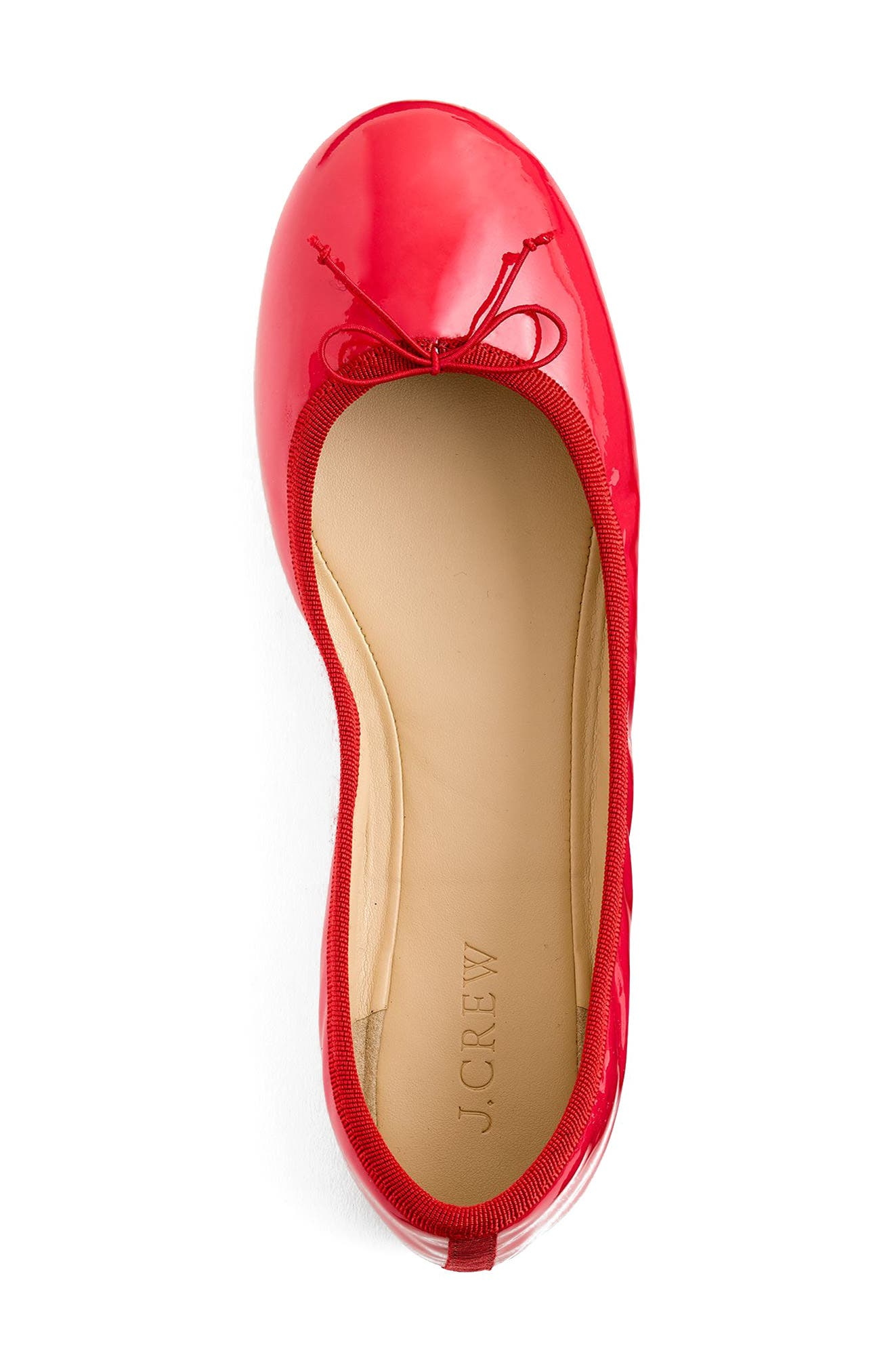 J.Crew Evie Ballet Flat,                             Alternate thumbnail 3, color,                             Providence Red Leather