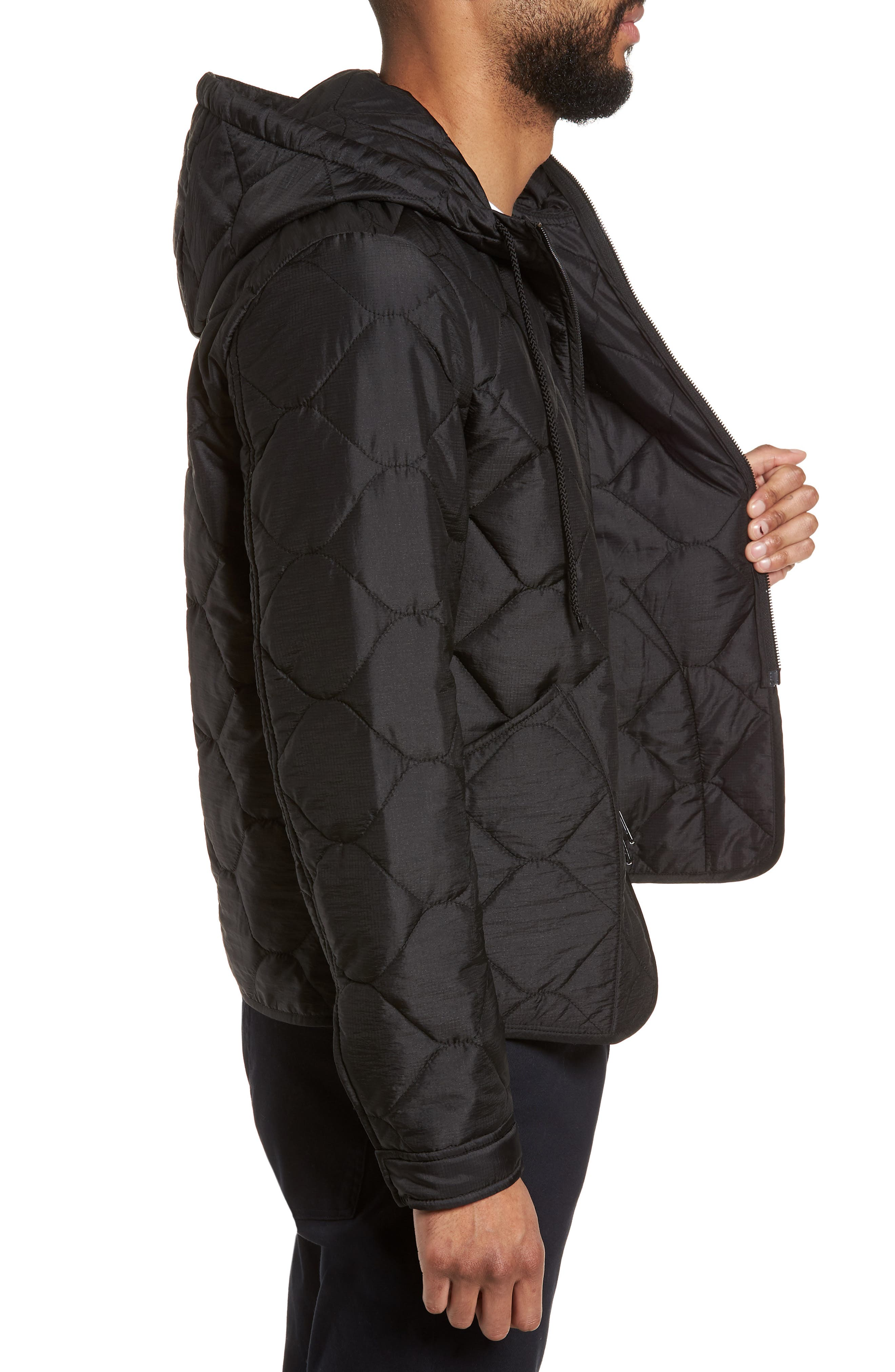 Quilted Slim Fit Hooded Jacket,                             Alternate thumbnail 3, color,                             Black