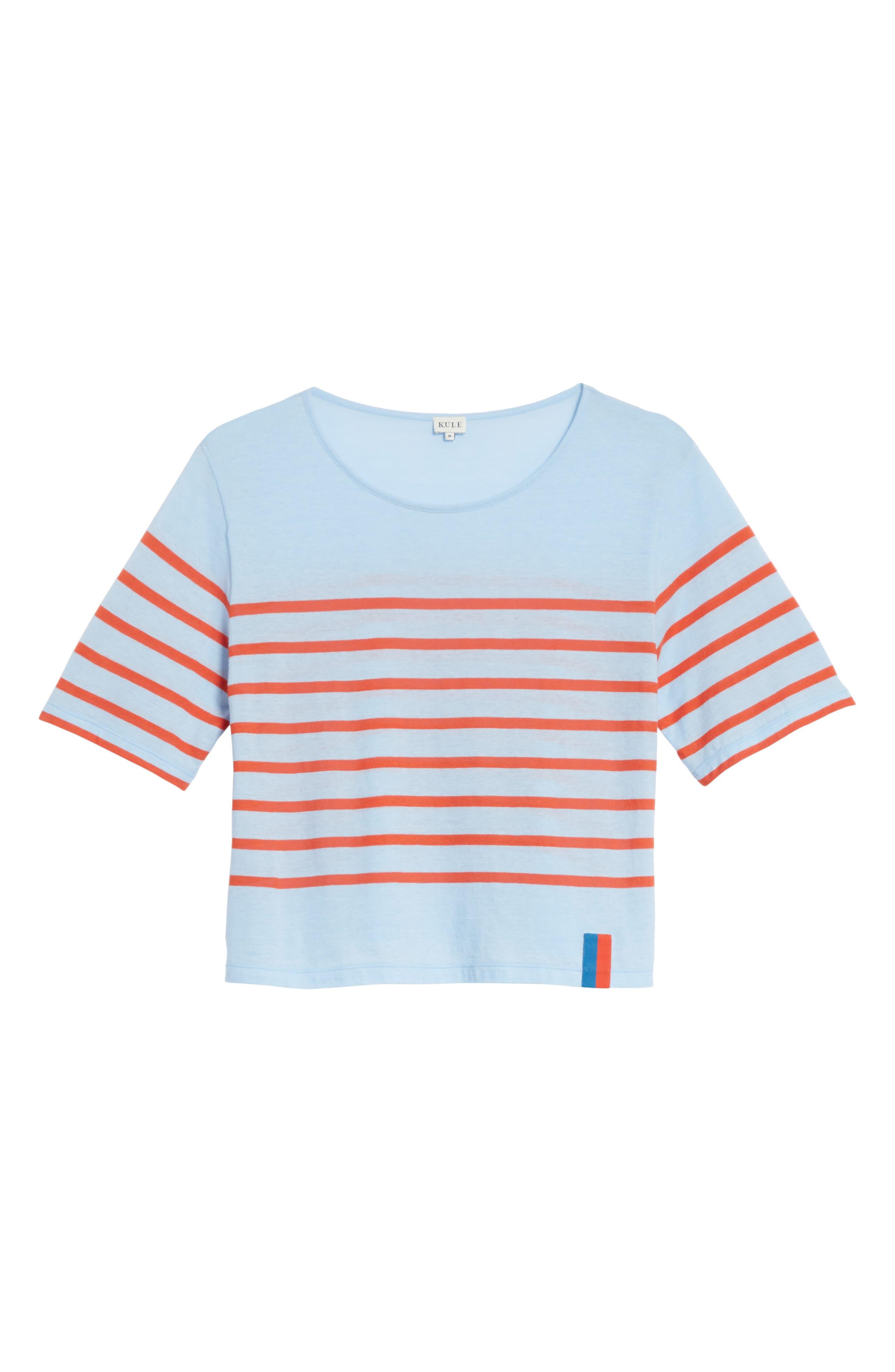 The Crop Stripe Tee,                             Alternate thumbnail 6, color,                             Sky/ Poppy