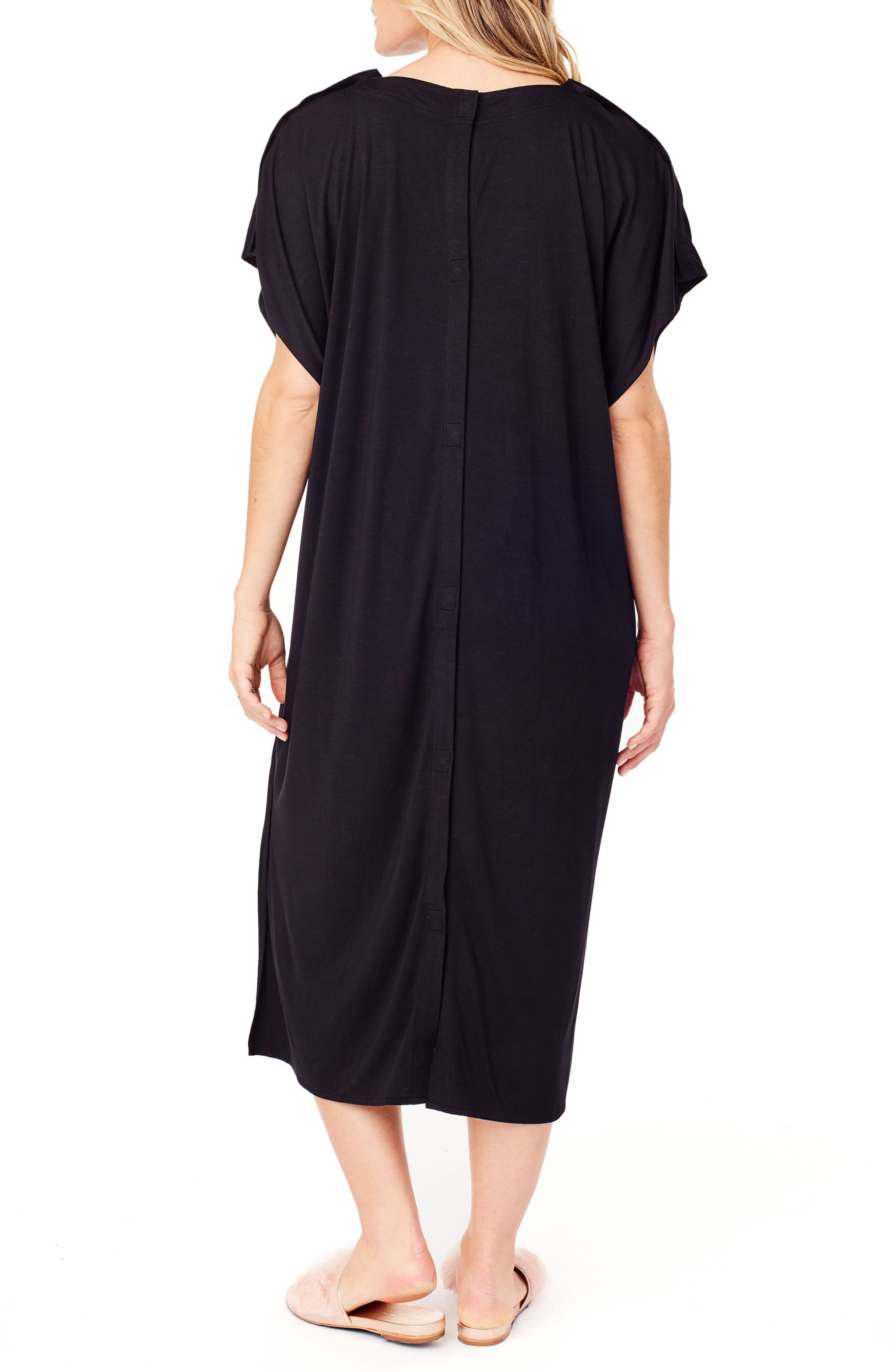 x James Fox & Co. Maternity/Nursing Hospital Gown,                             Alternate thumbnail 2, color,                             Jet Black