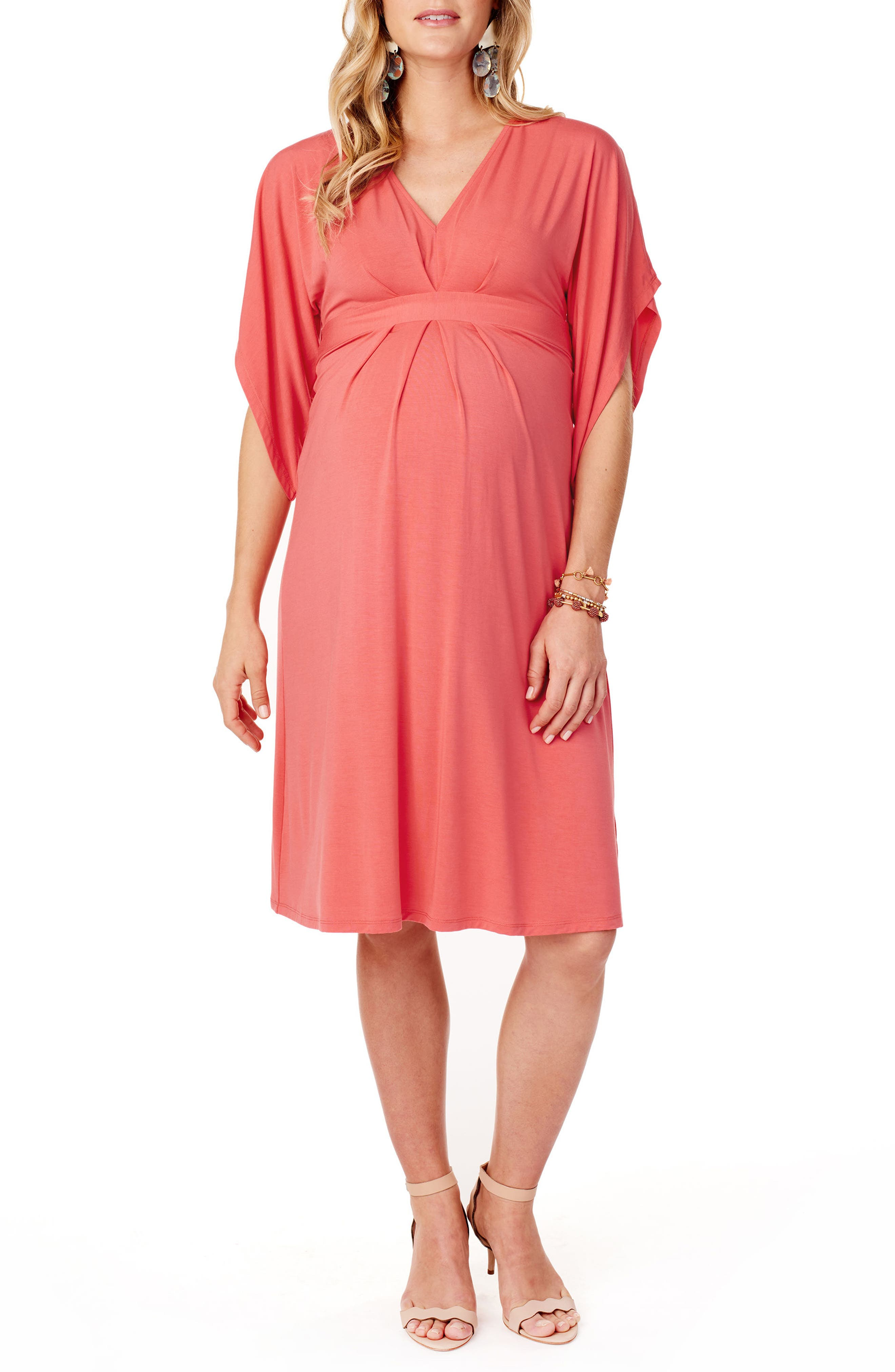 Split Kimono Sleeve Maternity Dress,                         Main,                         color, Coral