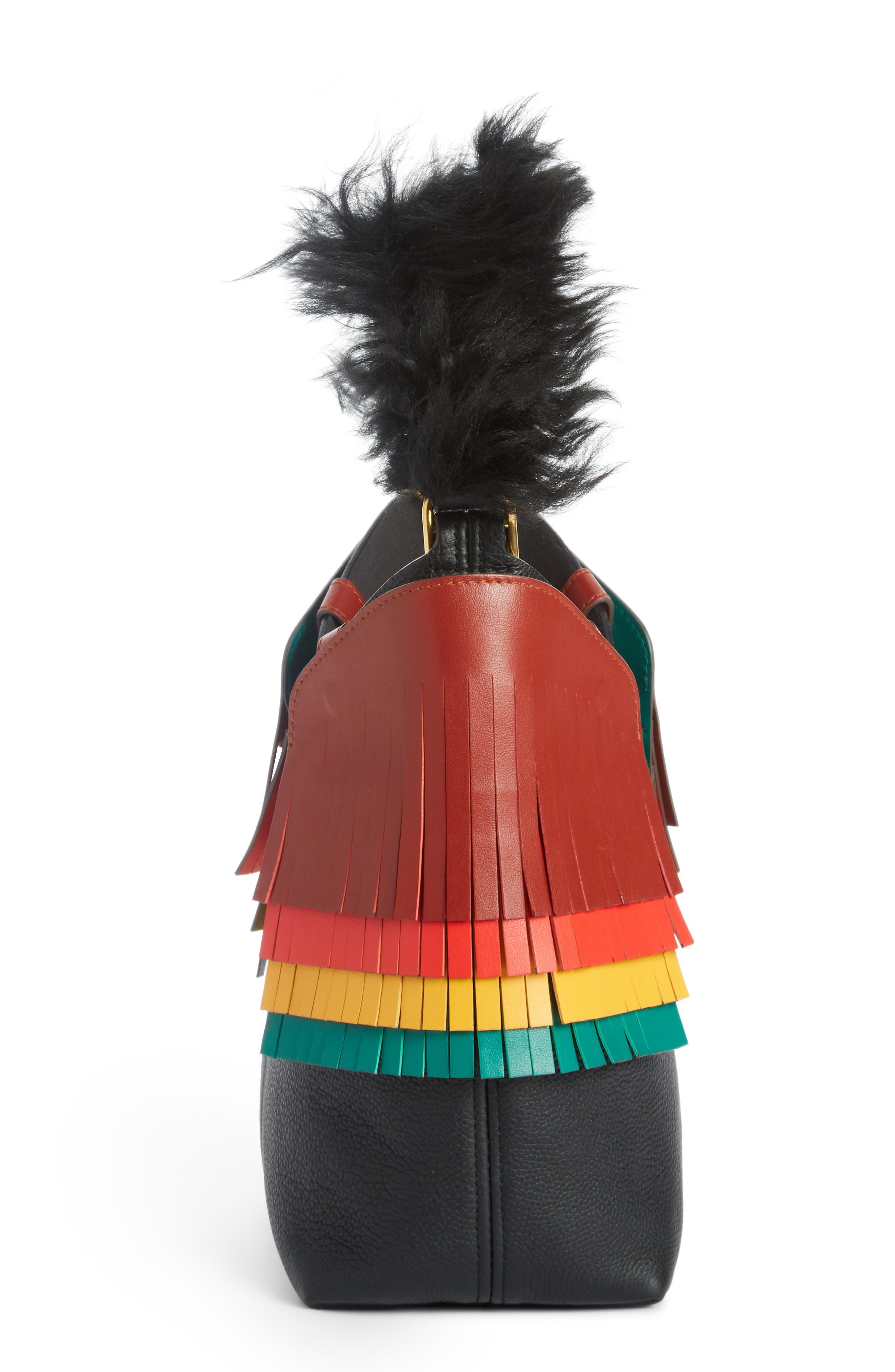 Build a Bag Mini Creature Leather Shoulder Bag with Genuine Shearling,                             Alternate thumbnail 3, color,                             Black