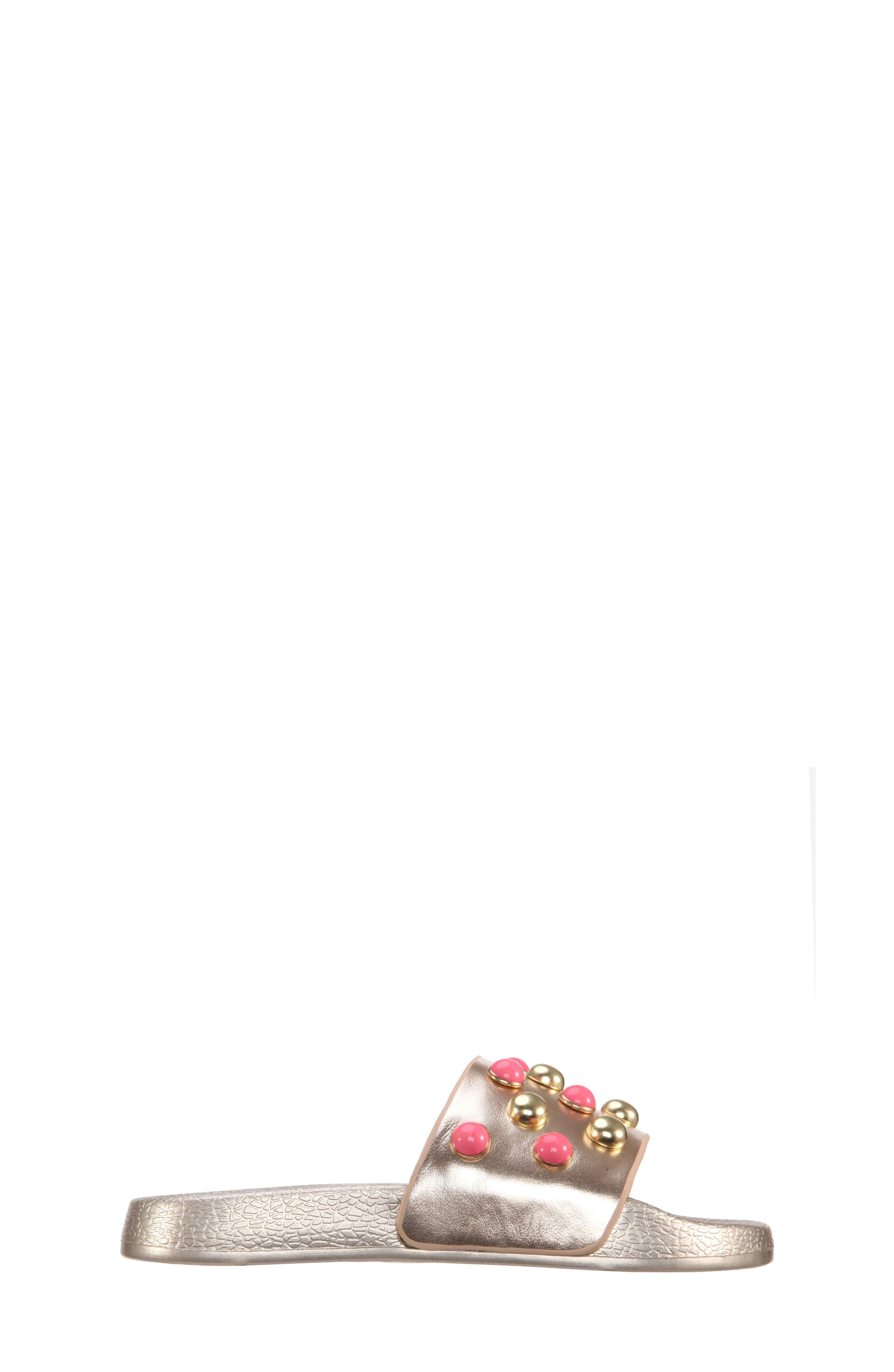 Jeaninne II Metallic Sport Slide Sandal,                             Alternate thumbnail 3, color,                             Platino Metallic