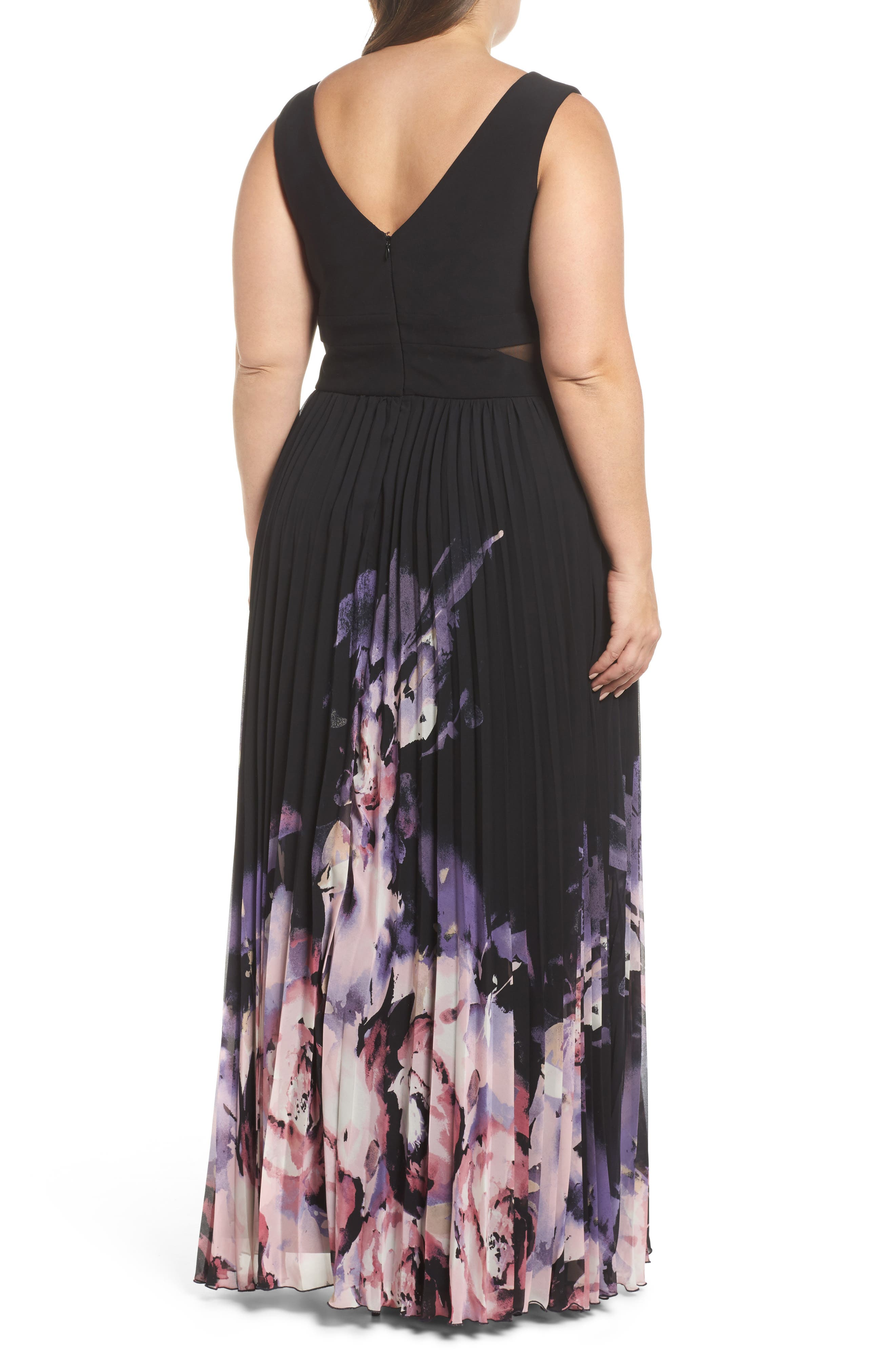 Pleated Chiffon Gown,                             Alternate thumbnail 2, color,                             Black/ Multi