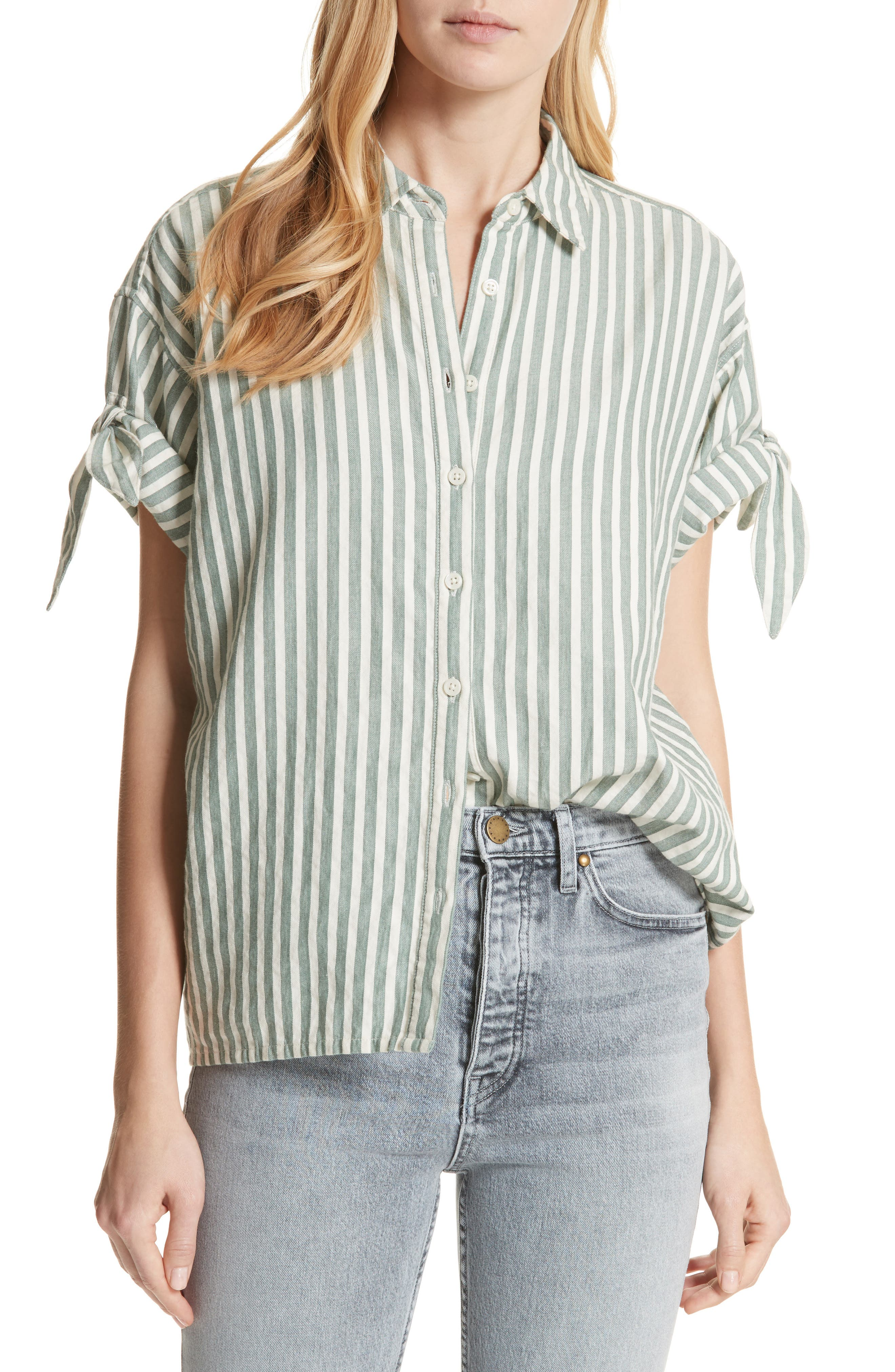 The Tie Sleeve Stripe Shirt,                             Main thumbnail 1, color,                             Green Stripe