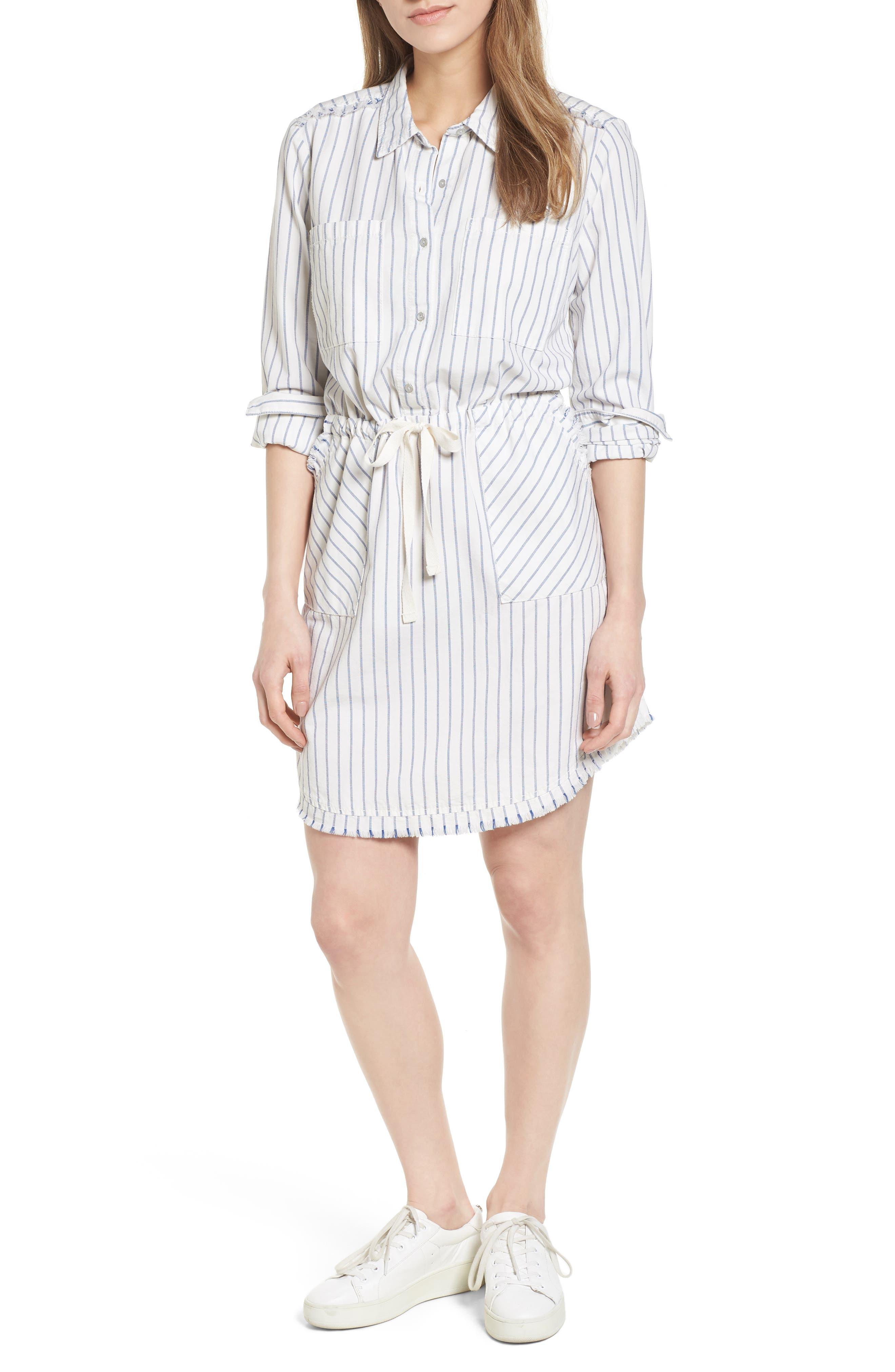 Caslon® Drawstring Waist Shirtdress (Regular & Petite)