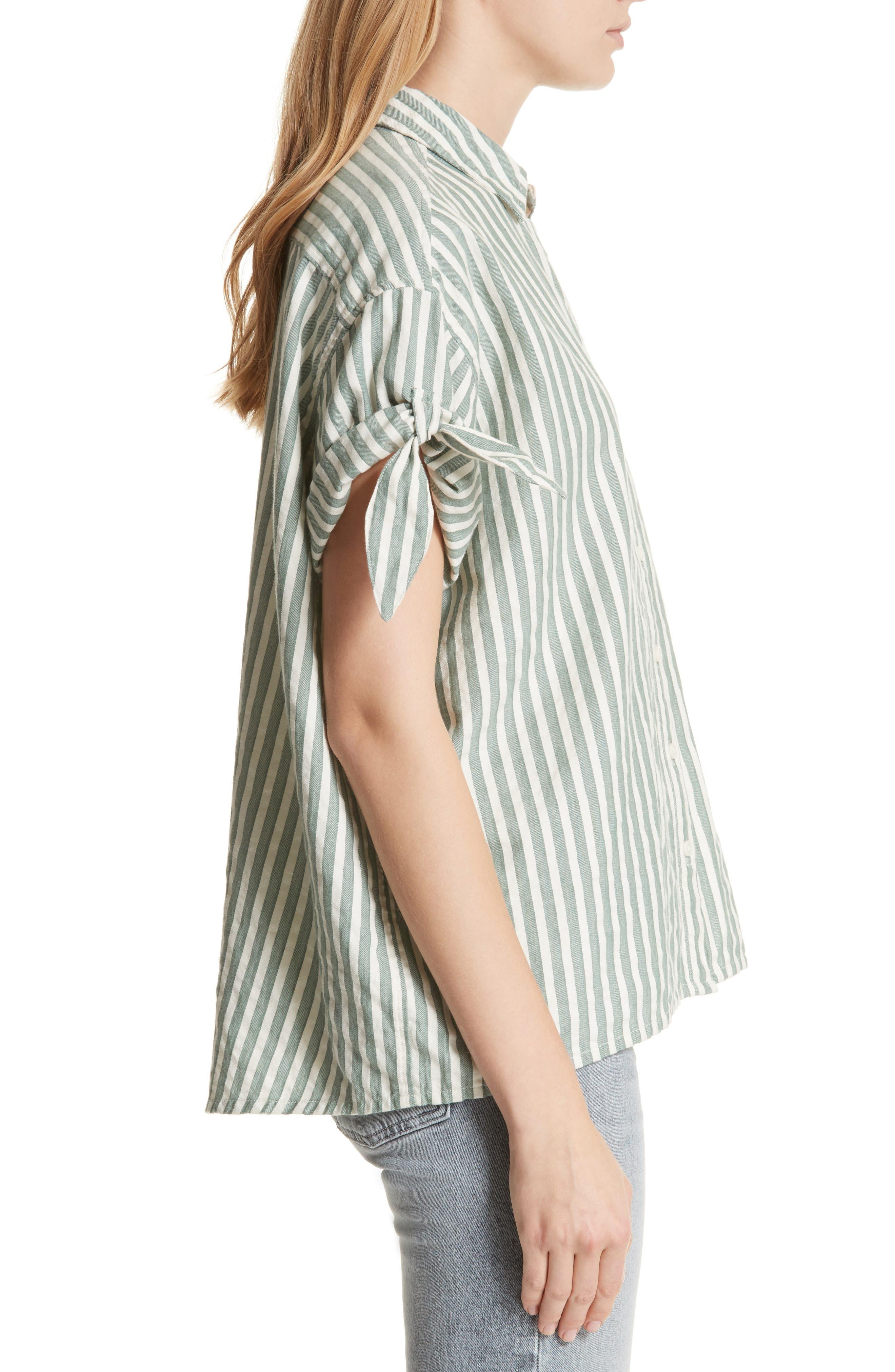 The Tie Sleeve Stripe Shirt,                             Alternate thumbnail 3, color,                             Green Stripe