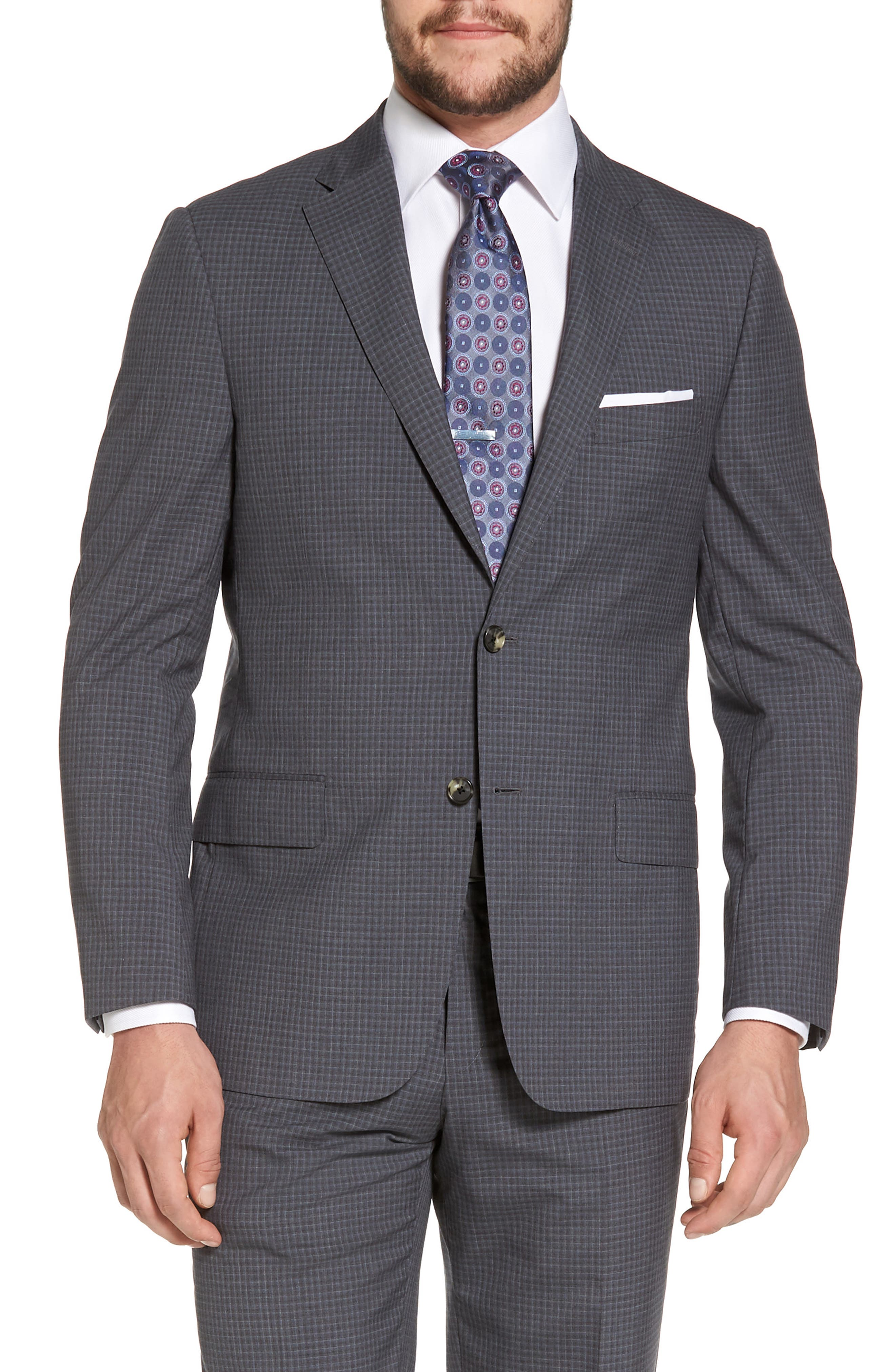 Classic B Fit Check Wool Suit,                             Alternate thumbnail 5, color,                             Charcoal
