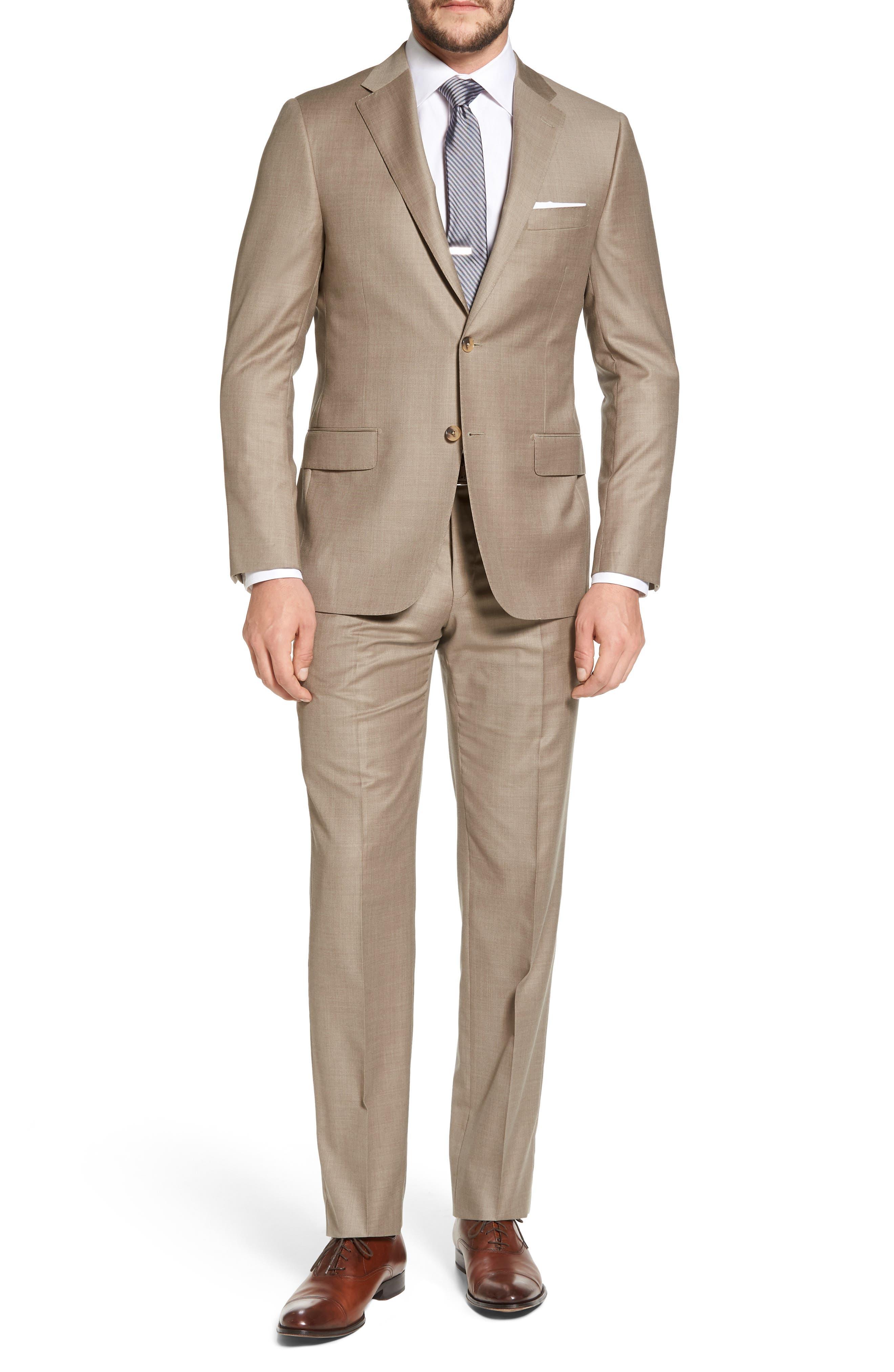 Classic B Fit Solid Wool Suit,                             Main thumbnail 1, color,                             Medium Beige