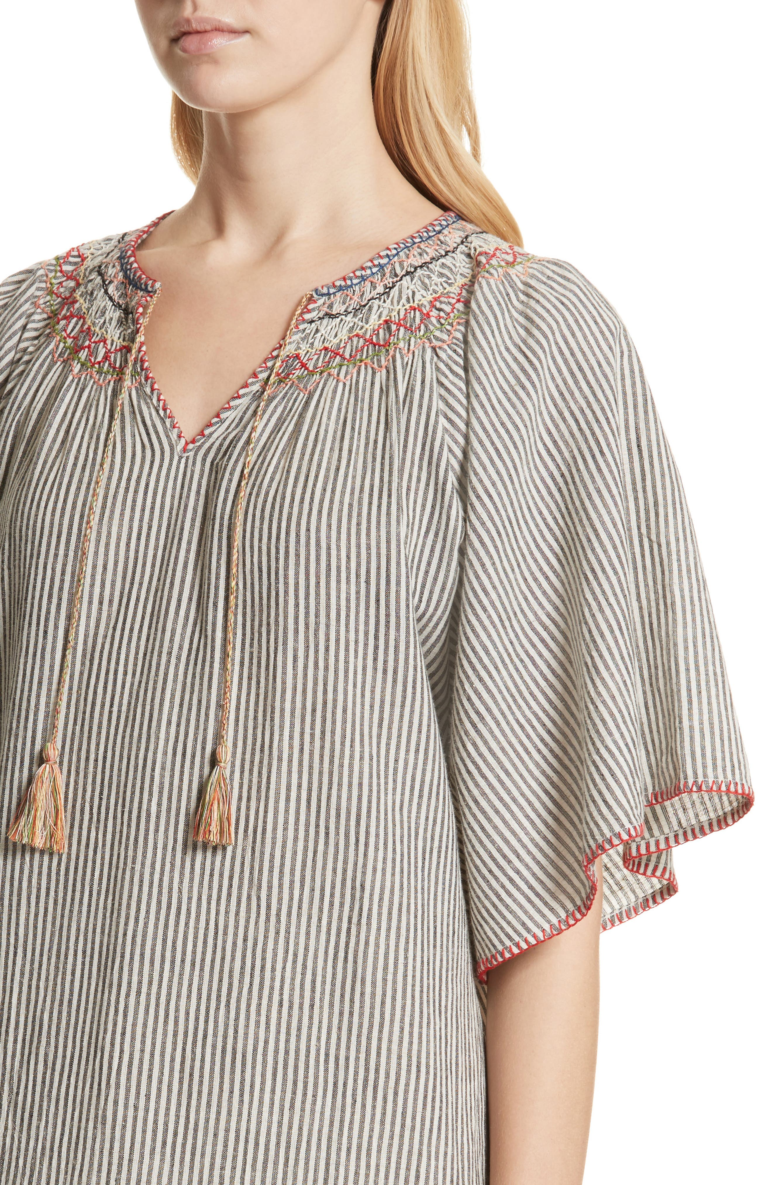 The Butterfly Smock Dress,                             Alternate thumbnail 4, color,                             Rail Stripe