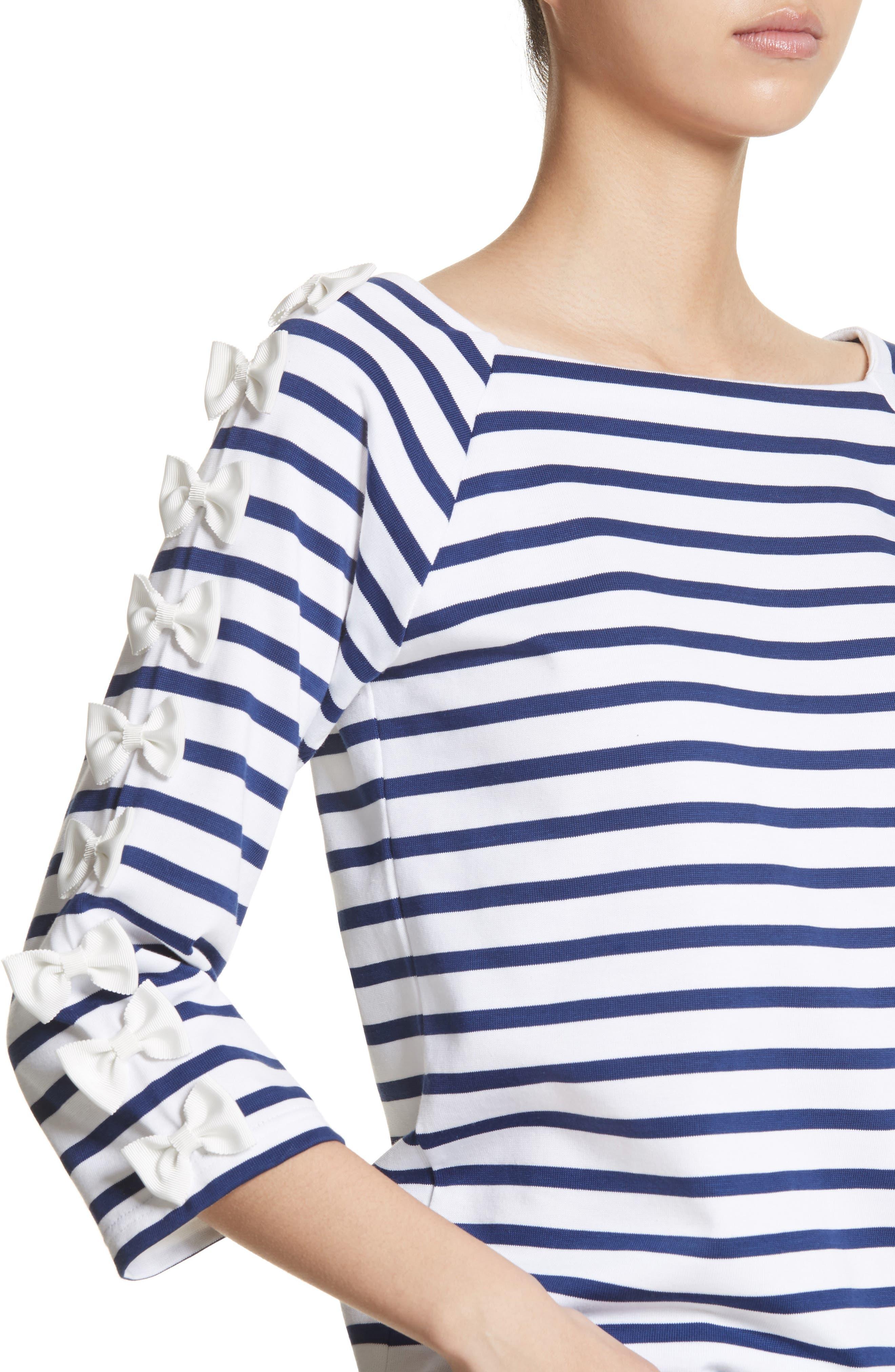 Bow Sleeve Stripe Tee,                             Alternate thumbnail 4, color,                             Blue