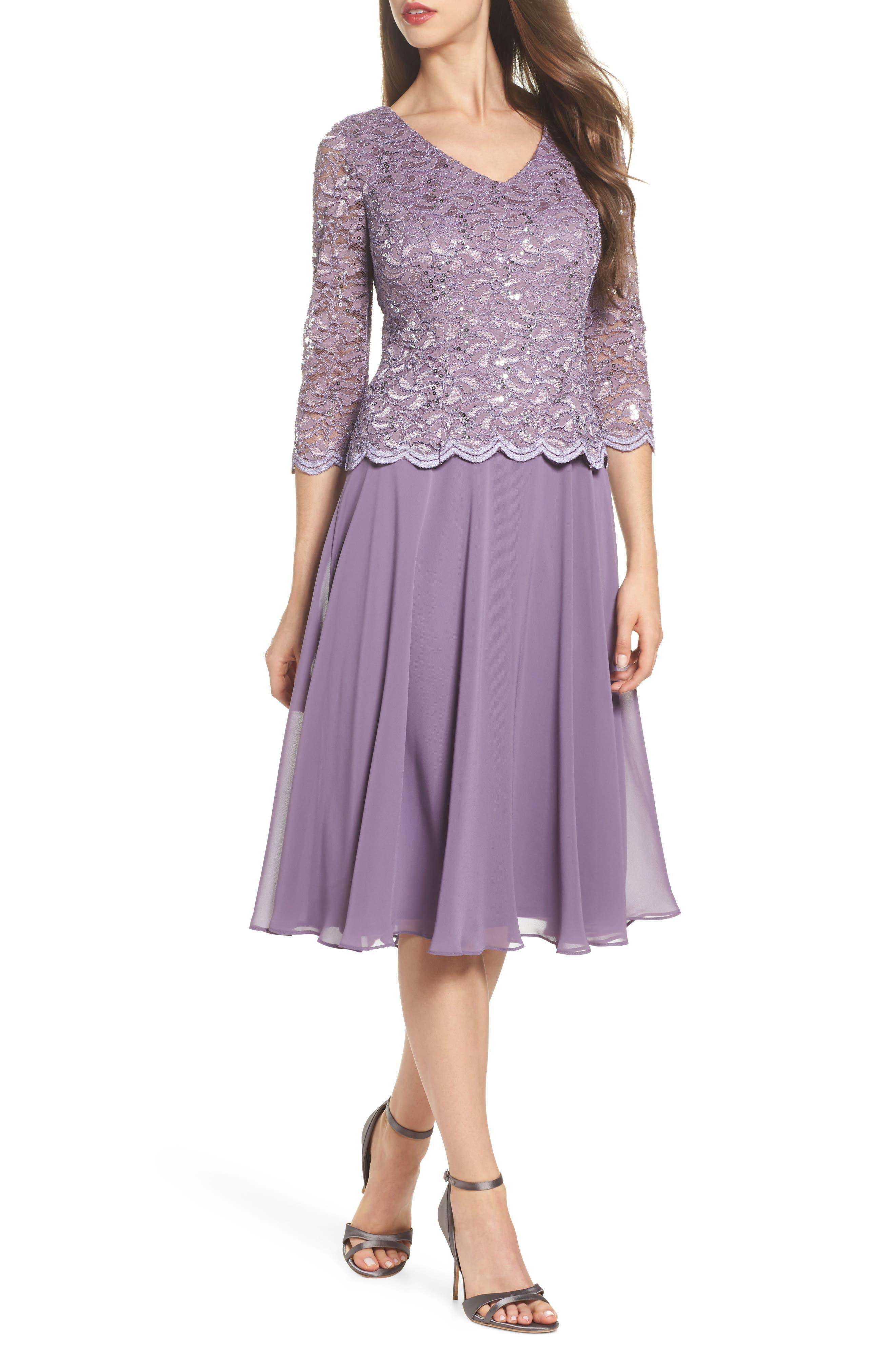Alex Evenings Sequin Lace & Georgette Midi Dress