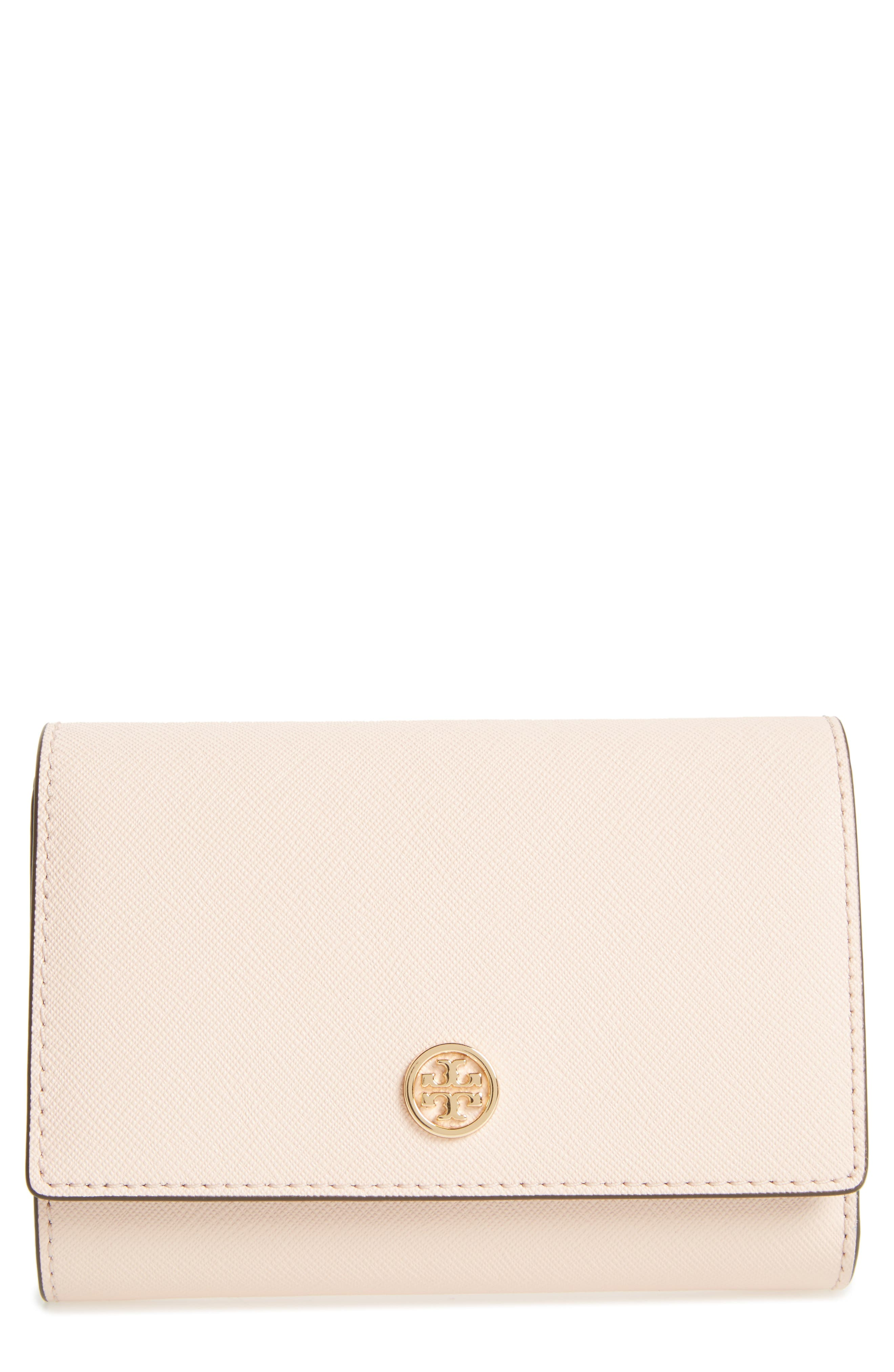 Robinson Medium Leather Wallet,                         Main,                         color, Pale Apricot / Royal Navy