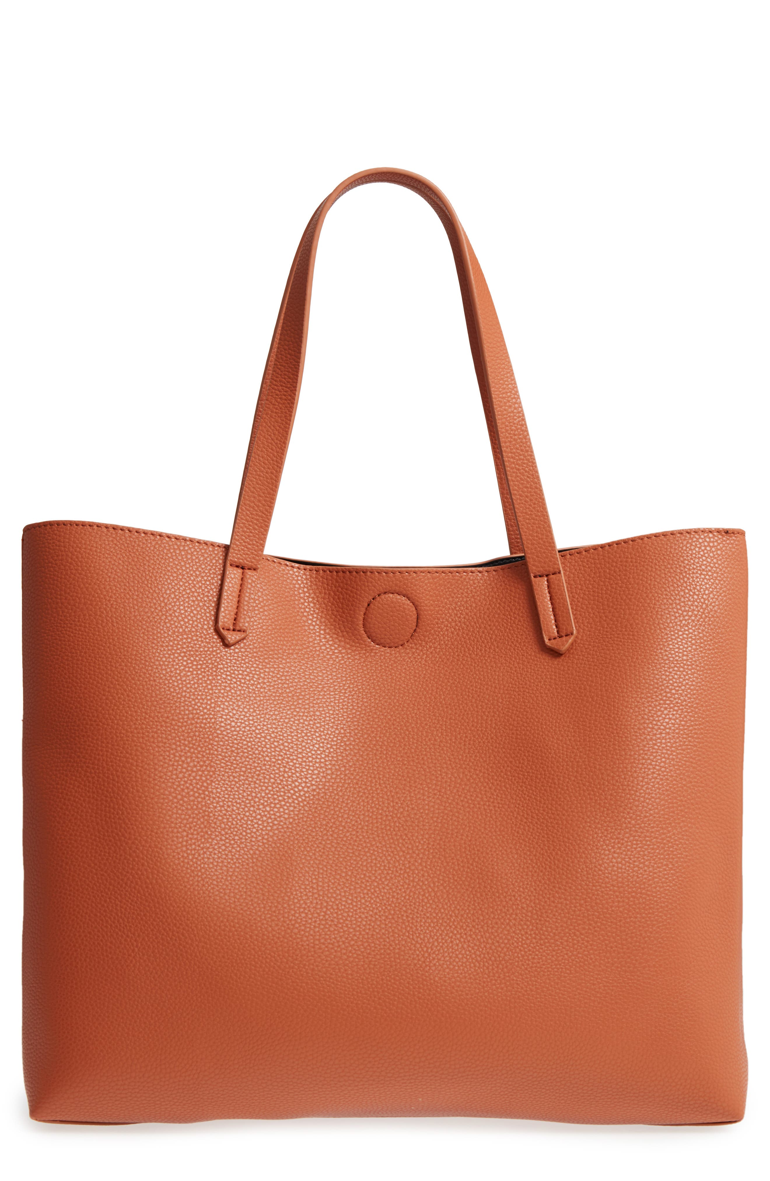 Contrast Lining Faux Leather Tote,                             Alternate thumbnail 3, color,                             Cognac