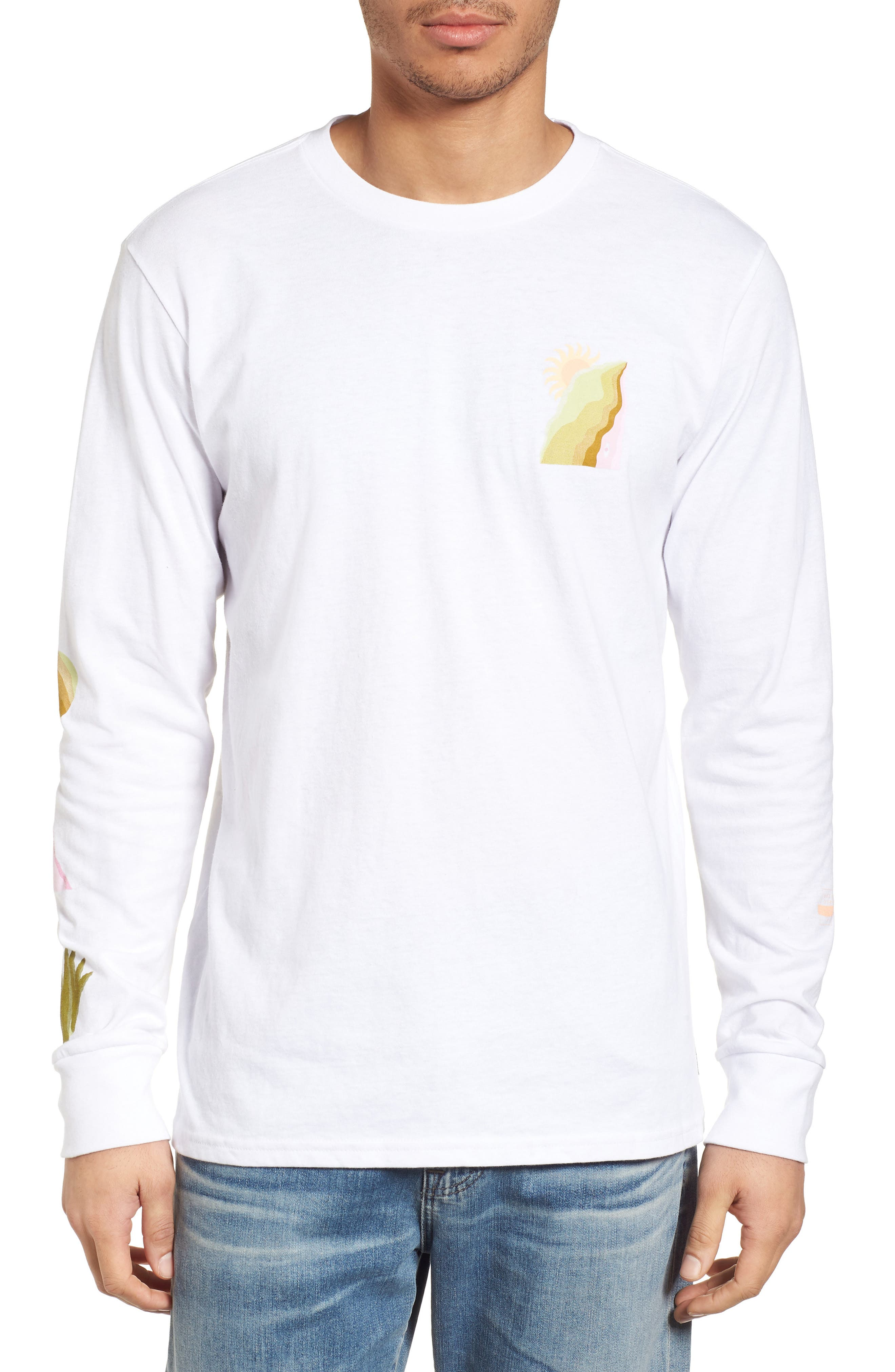 Wandering Eye Embroidered Long Sleeve T-Shirt,                             Main thumbnail 1, color,                             White