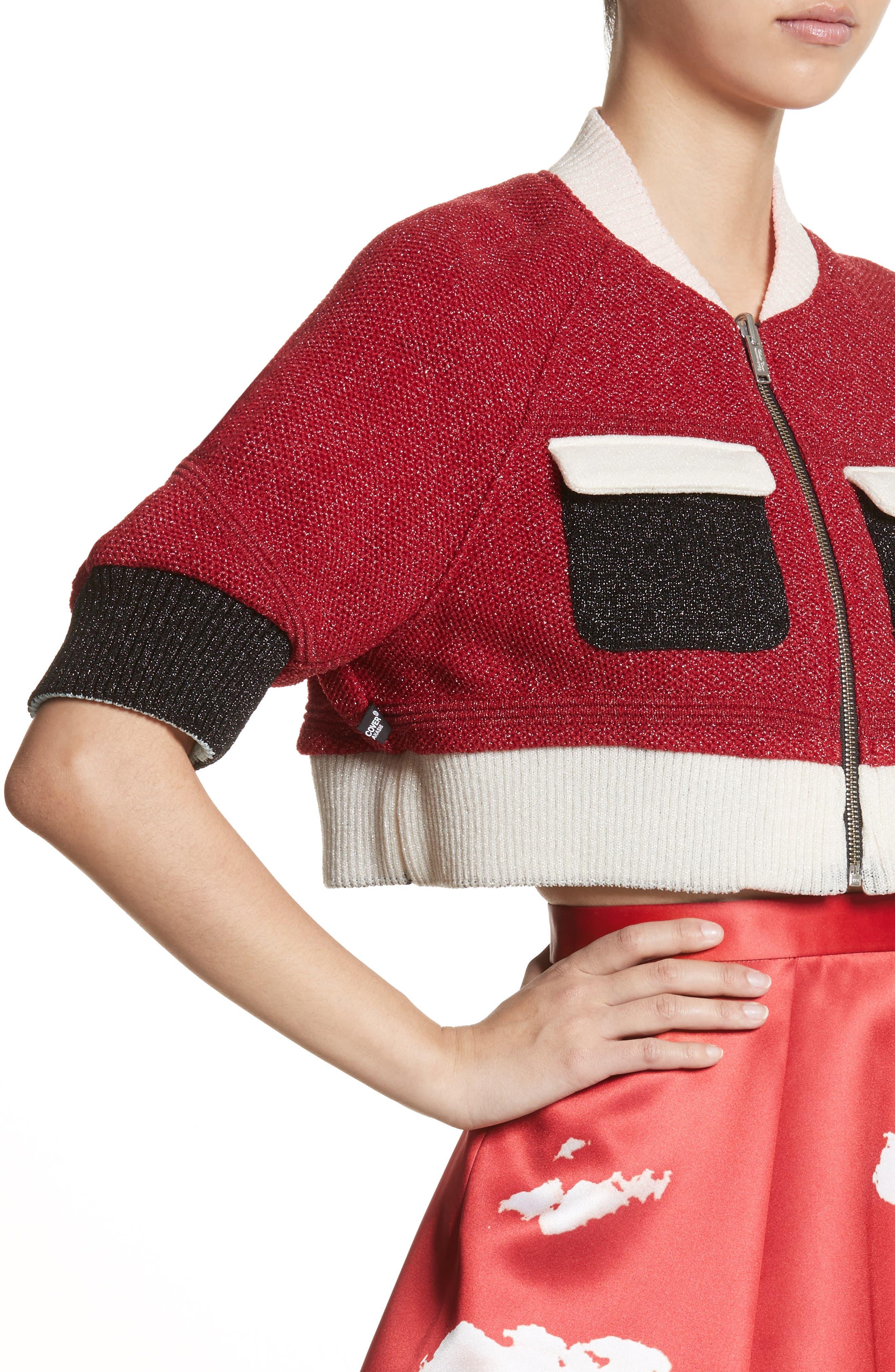 Reversible Crop Jacket,                             Alternate thumbnail 5, color,                             Brown/ Red