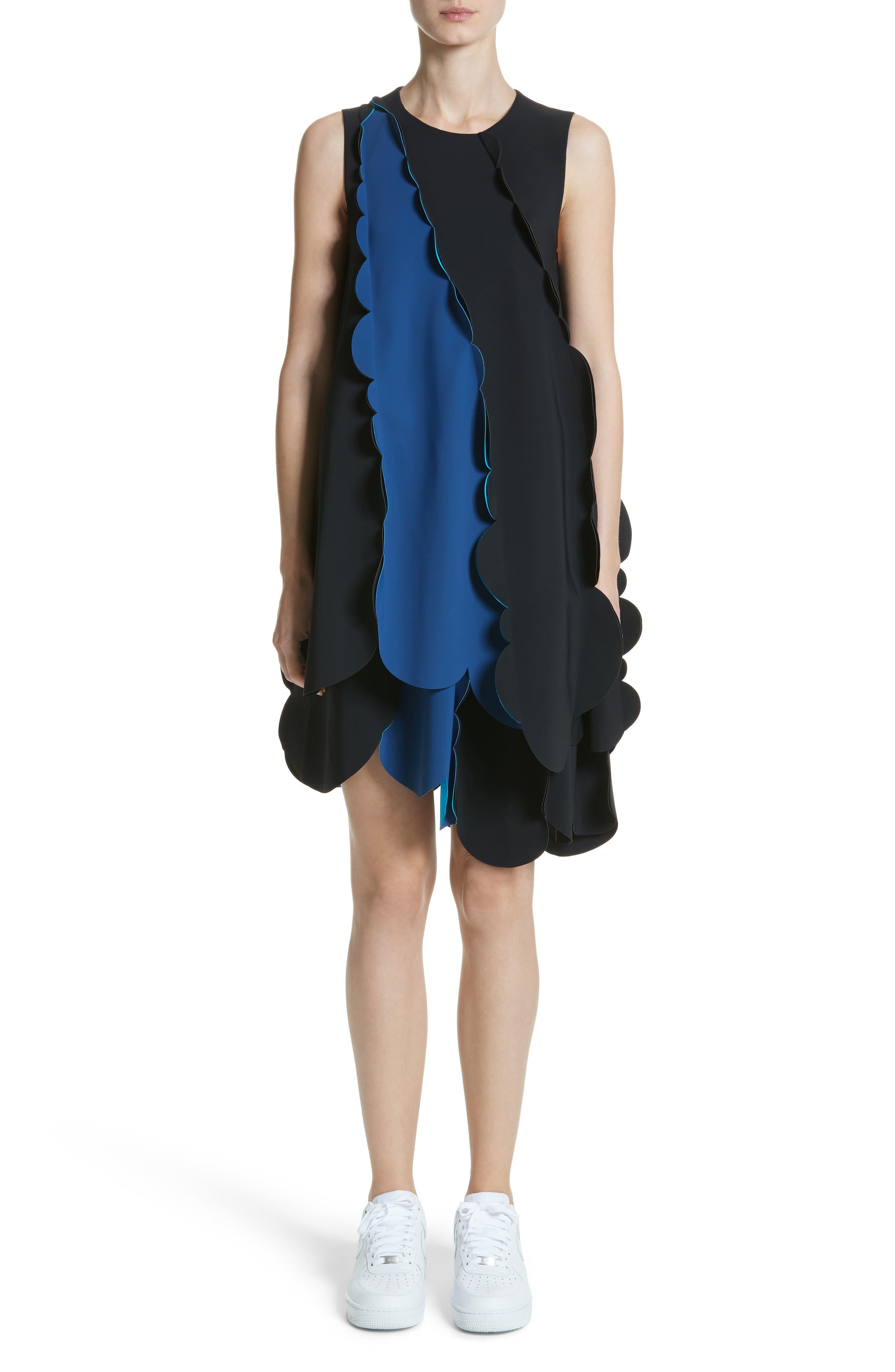 Scalloped Asymmetrical Minidress,                         Main,                         color, Black/ Midnight Blue