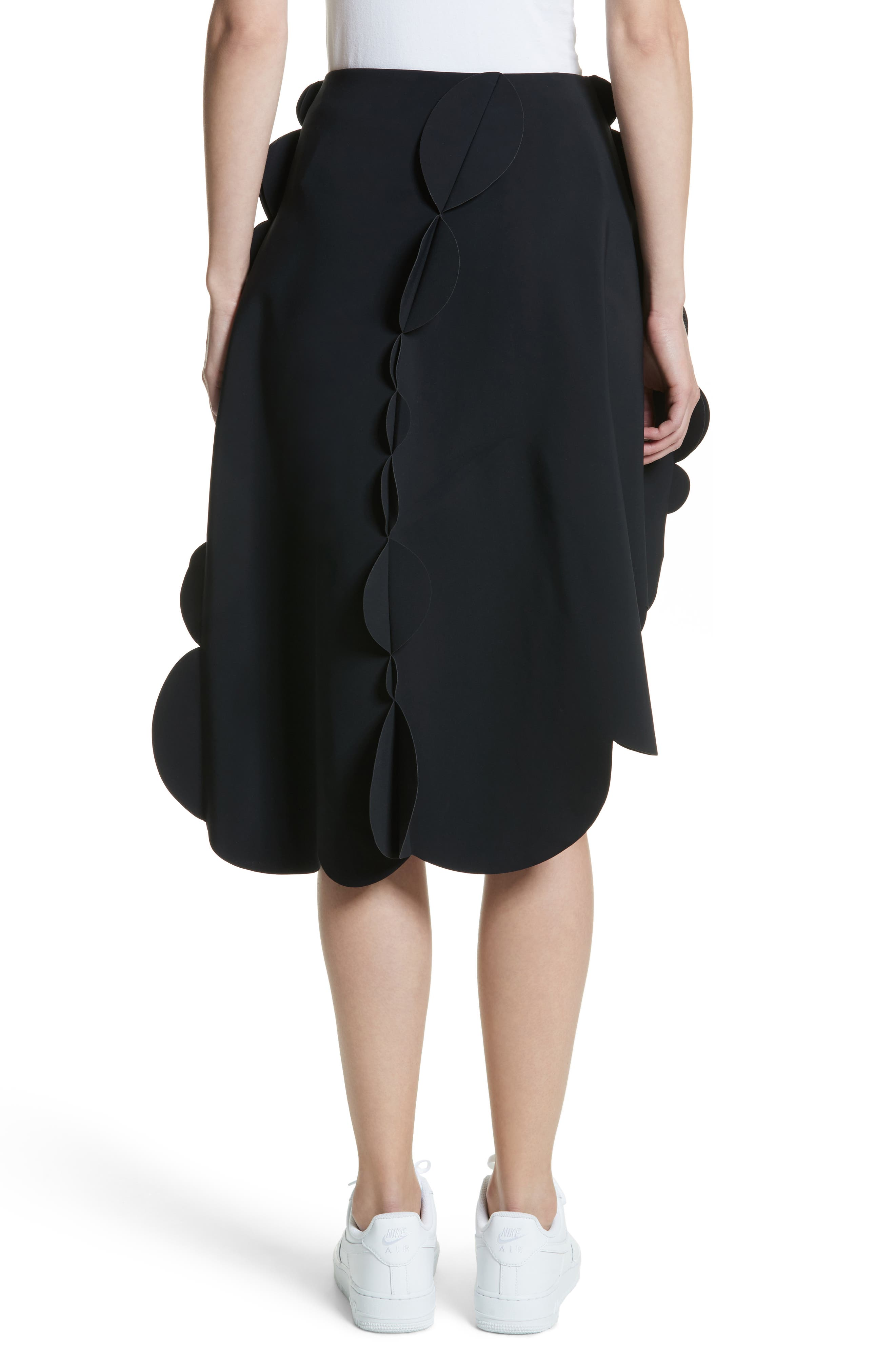 Scallop Asymmetrical Skirt,                             Alternate thumbnail 2, color,                             Black