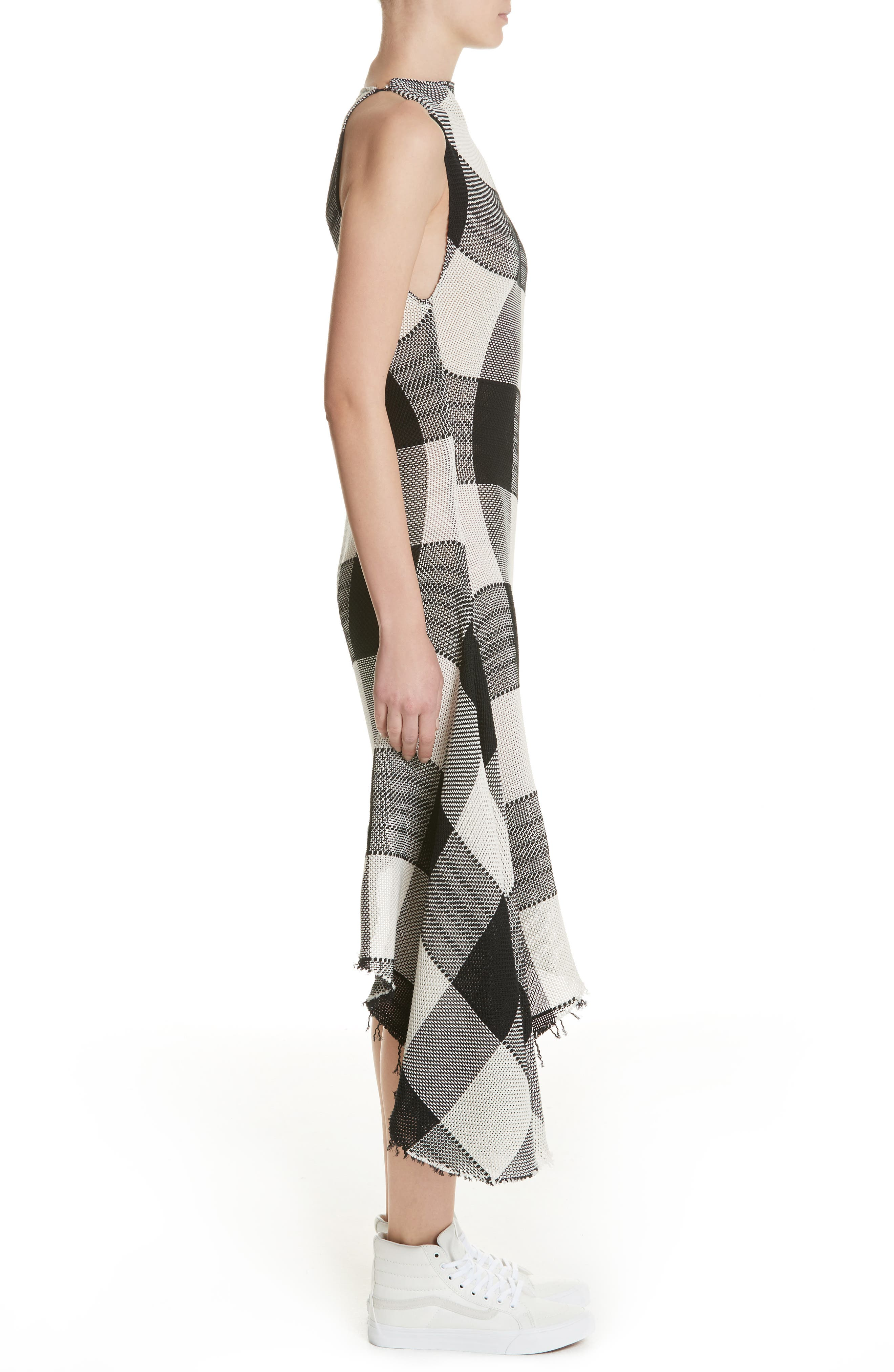 Marques'Almeida Asymmetrical Gingham Sheath Dress,                             Alternate thumbnail 3, color,                             Black/White