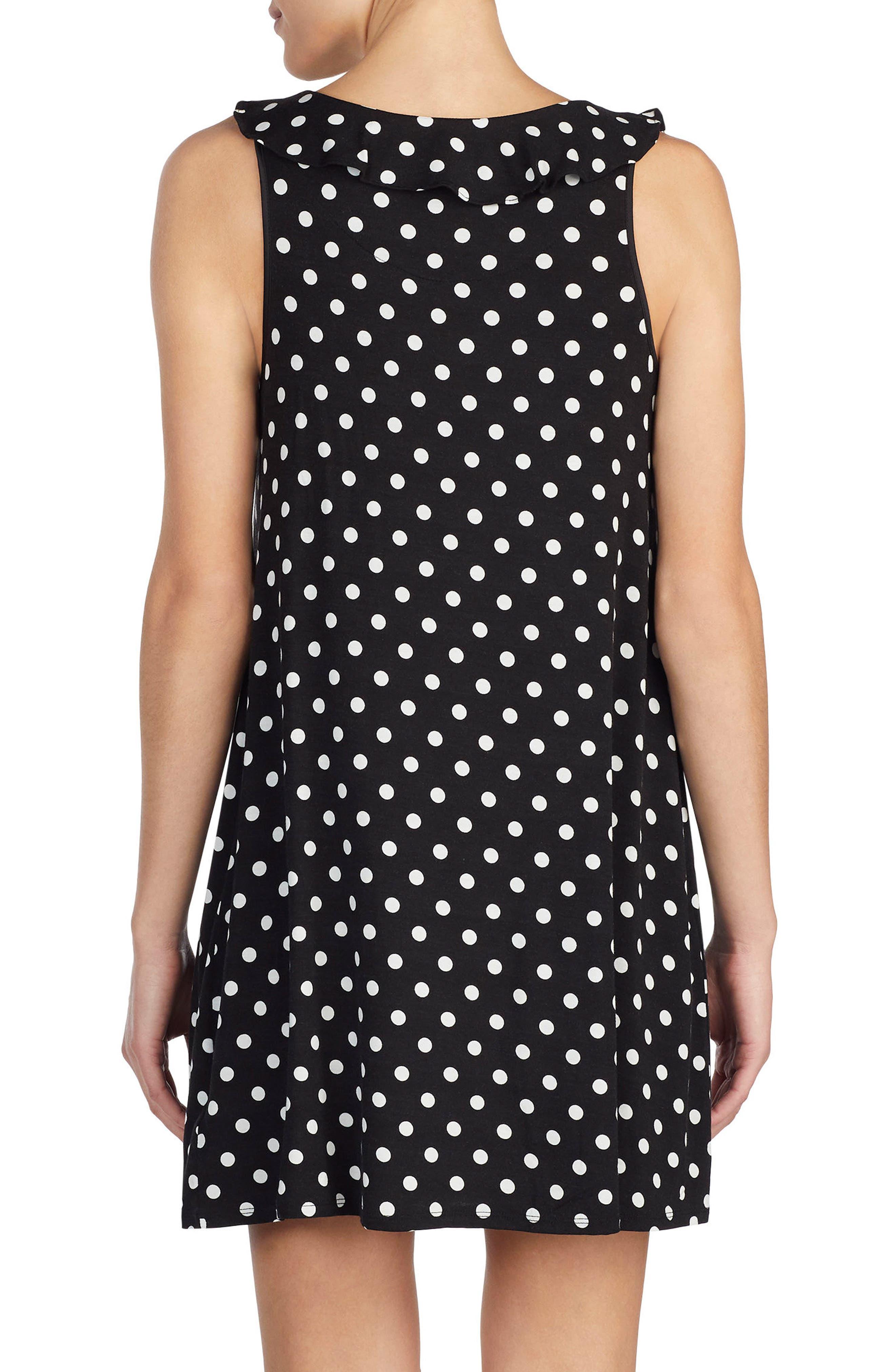 polka dot chemise,                             Alternate thumbnail 2, color,                             Black Framed Dot