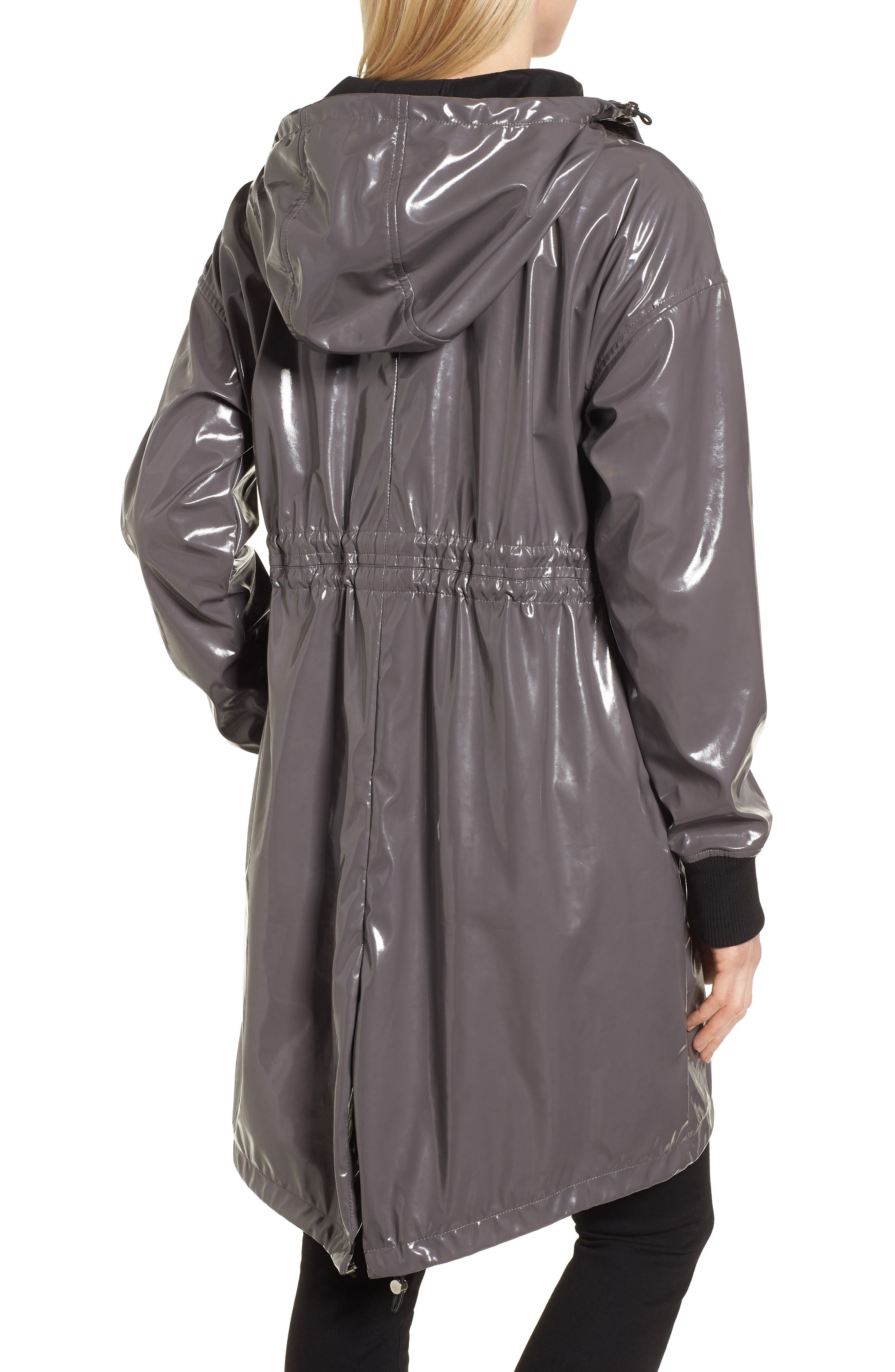 Fawn Patent Hooded Raincoat,                             Alternate thumbnail 2, color,                             Steel