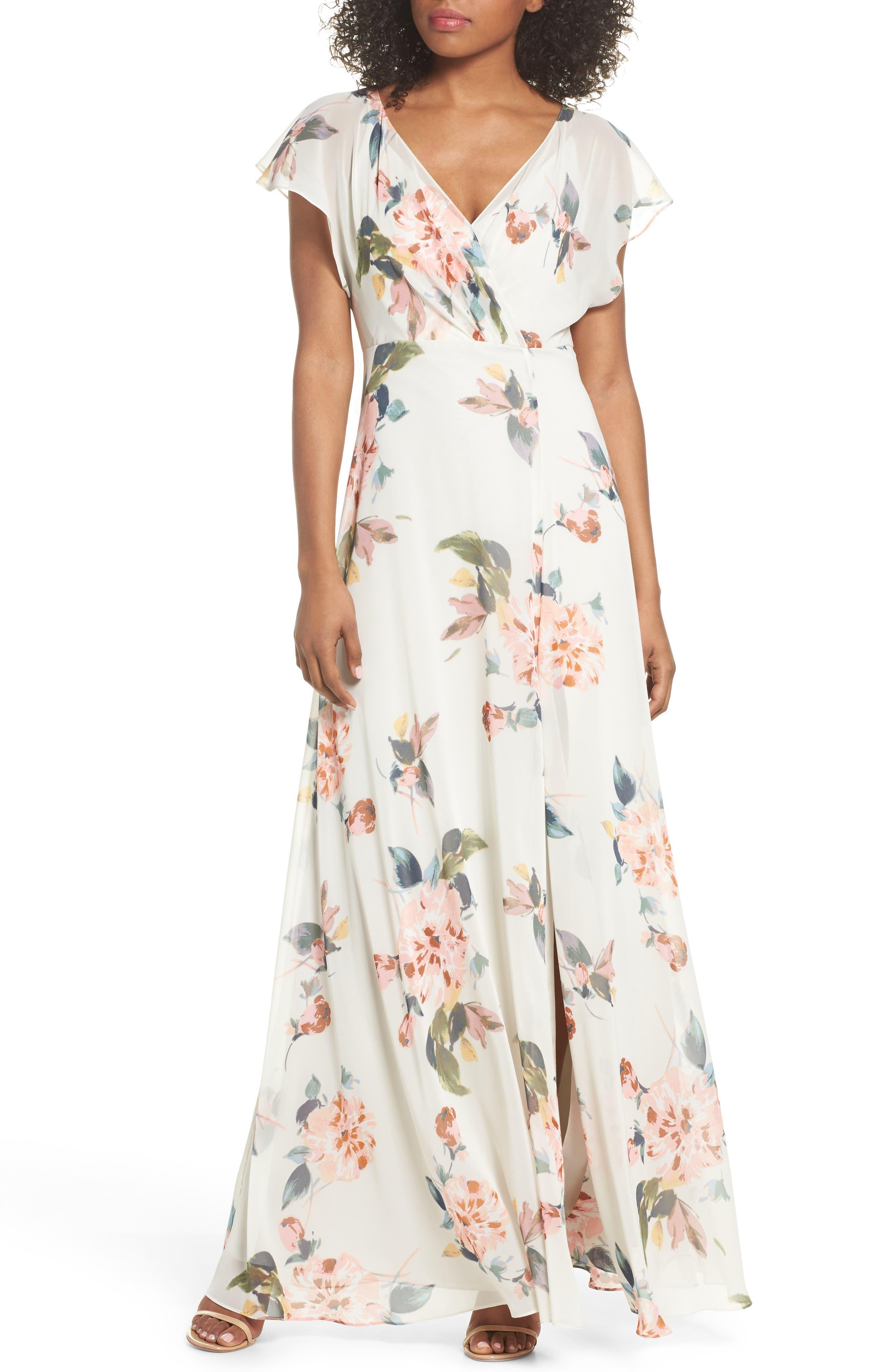 Alanna Ohana Print Open Back Print Chiffon Gown, Soft Sage Multi